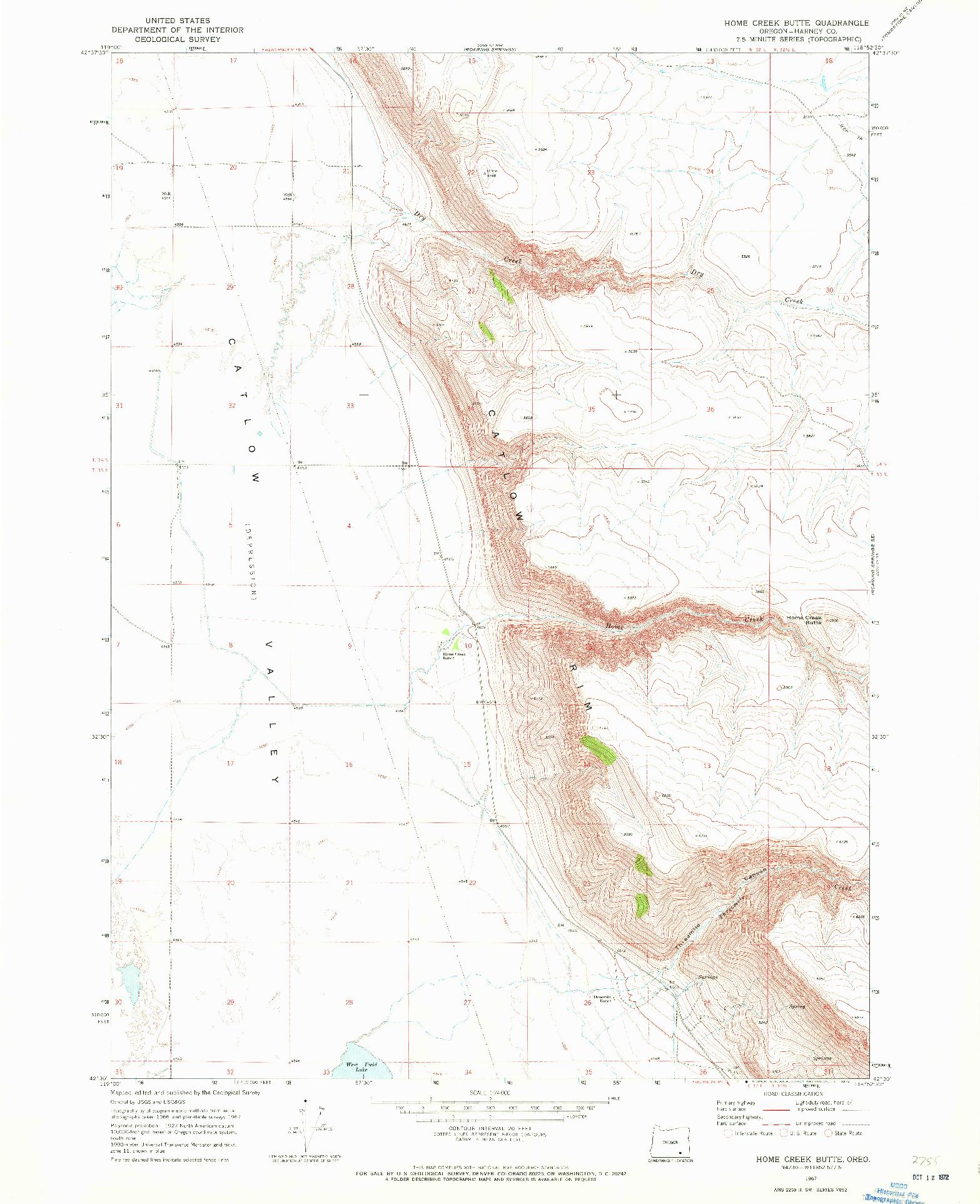 USGS 1:24000-SCALE QUADRANGLE FOR HOME CREEK BUTTE, OR 1967