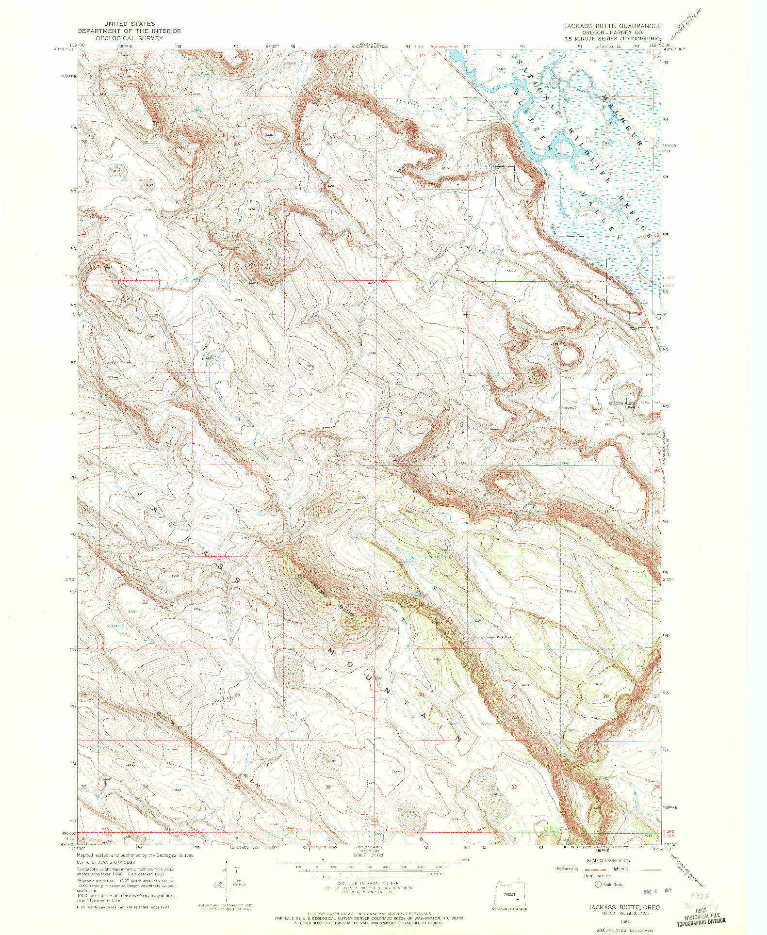 USGS 1:24000-SCALE QUADRANGLE FOR JACKASS BUTTE, OR 1967