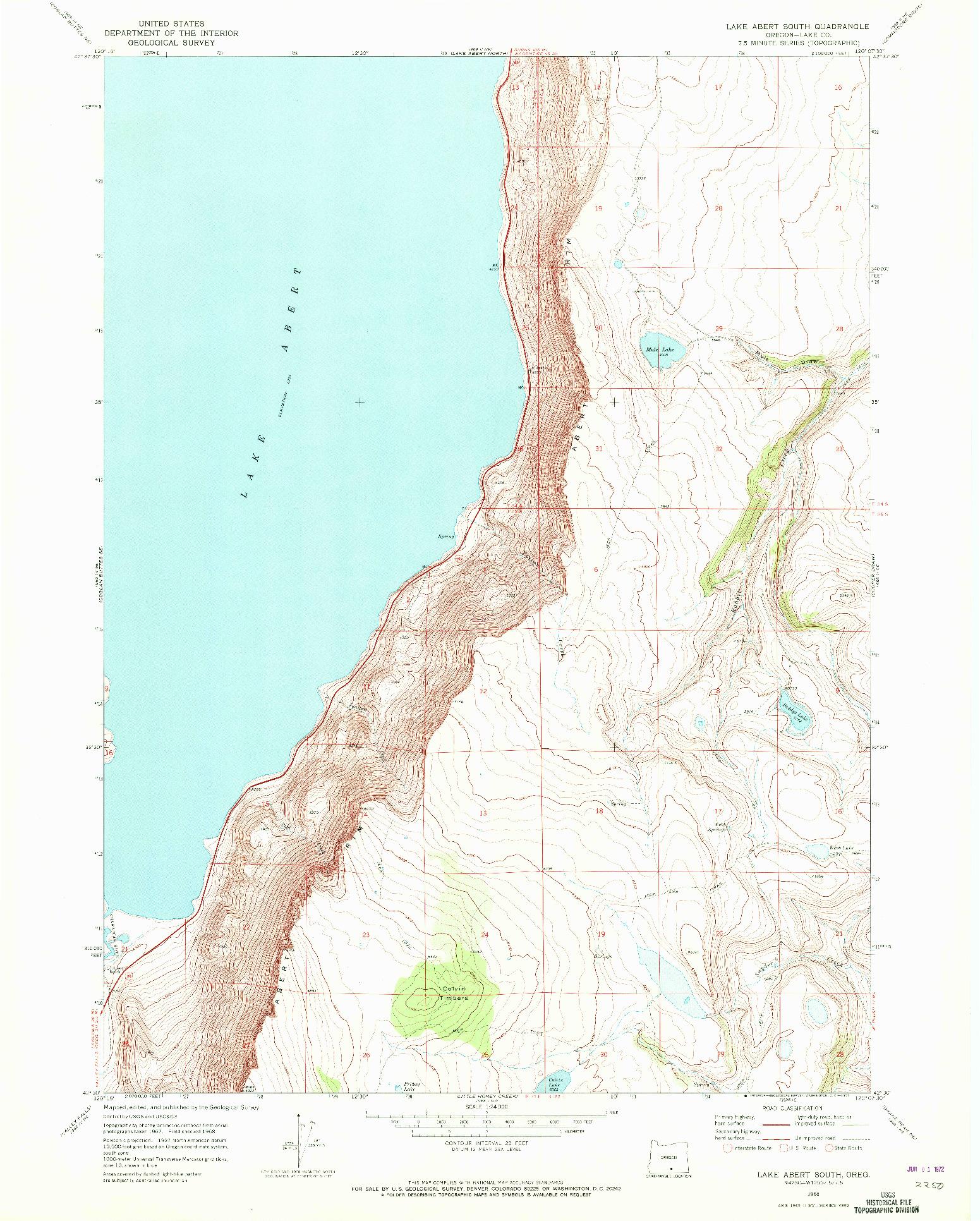 USGS 1:24000-SCALE QUADRANGLE FOR LAKE ABERT SOUTH, OR 1968