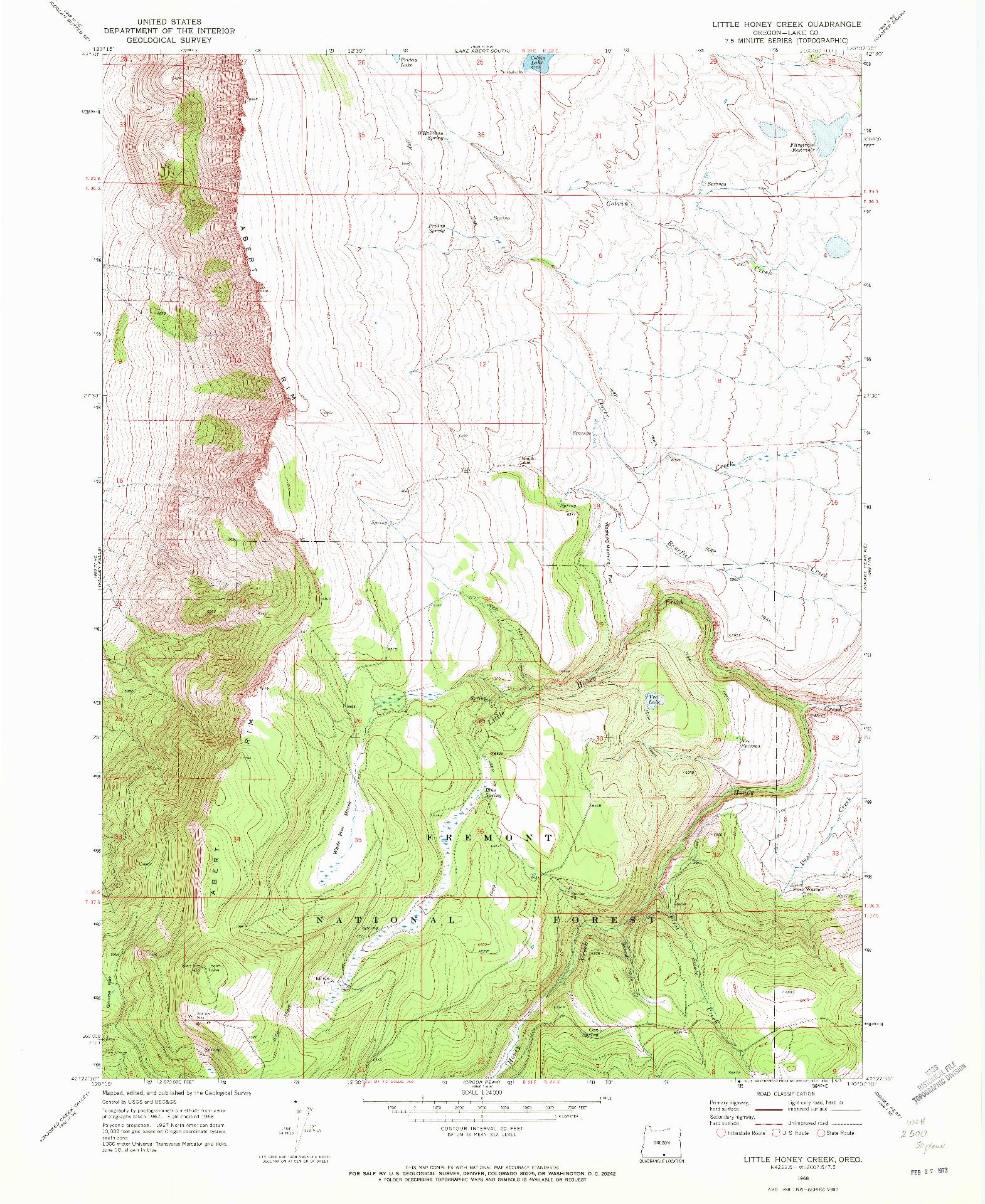 USGS 1:24000-SCALE QUADRANGLE FOR LITTLE HONEY CREEK, OR 1968