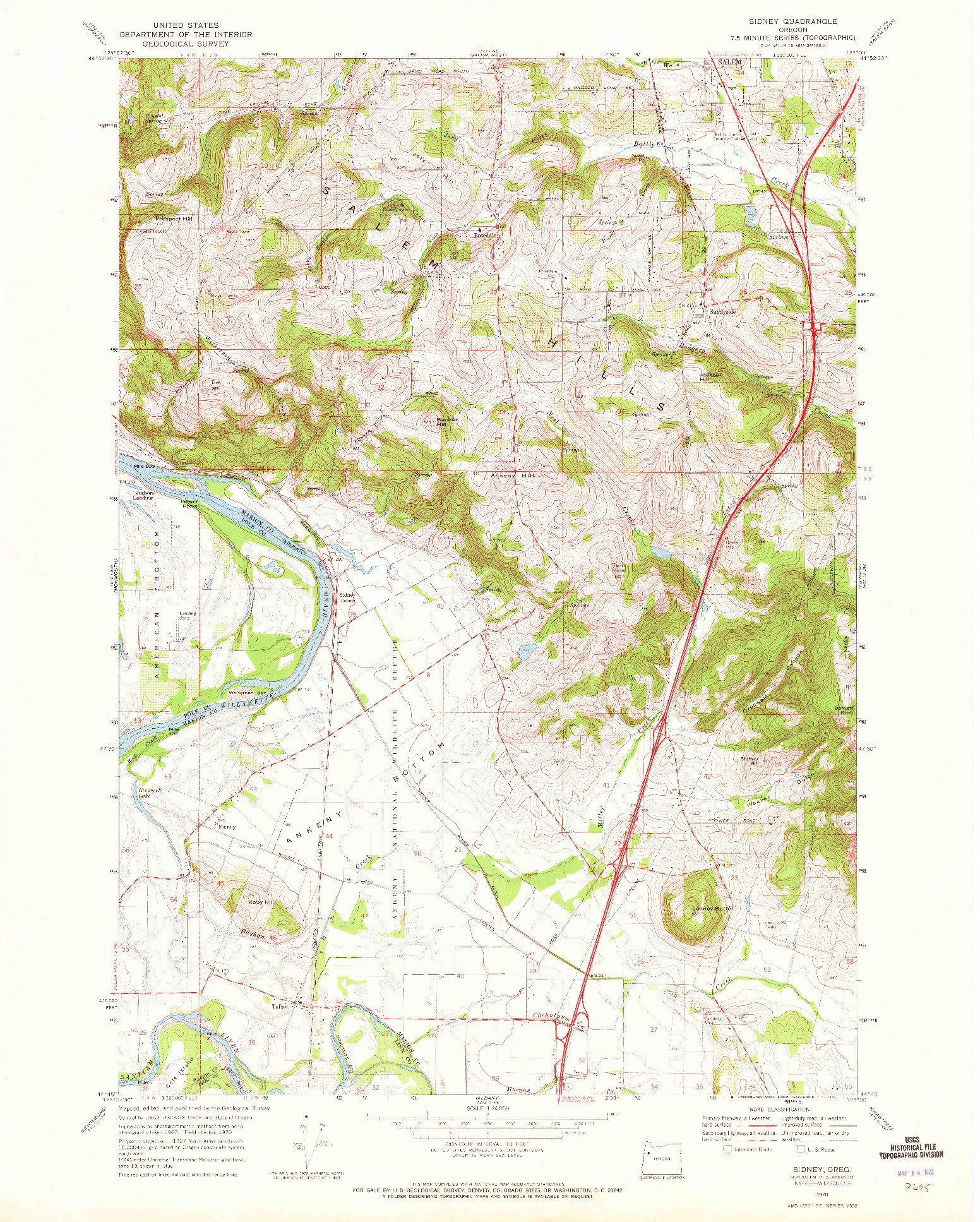 USGS 1:24000-SCALE QUADRANGLE FOR SIDNEY, OR 1970