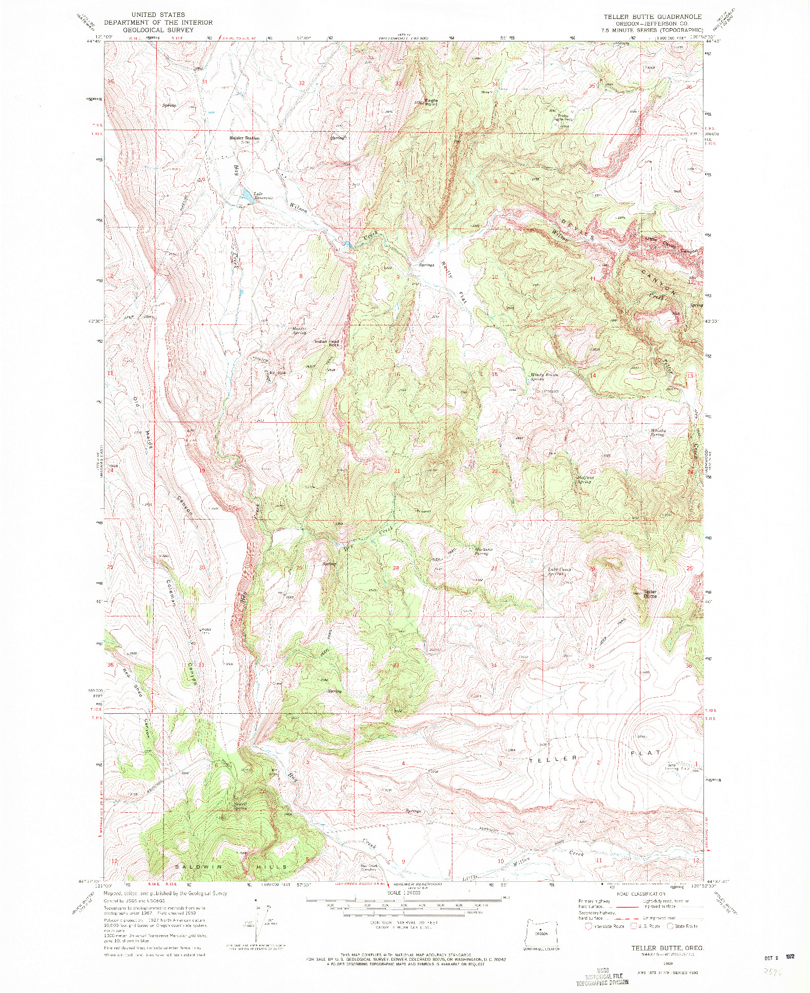 USGS 1:24000-SCALE QUADRANGLE FOR TELLER BUTTE, OR 1969