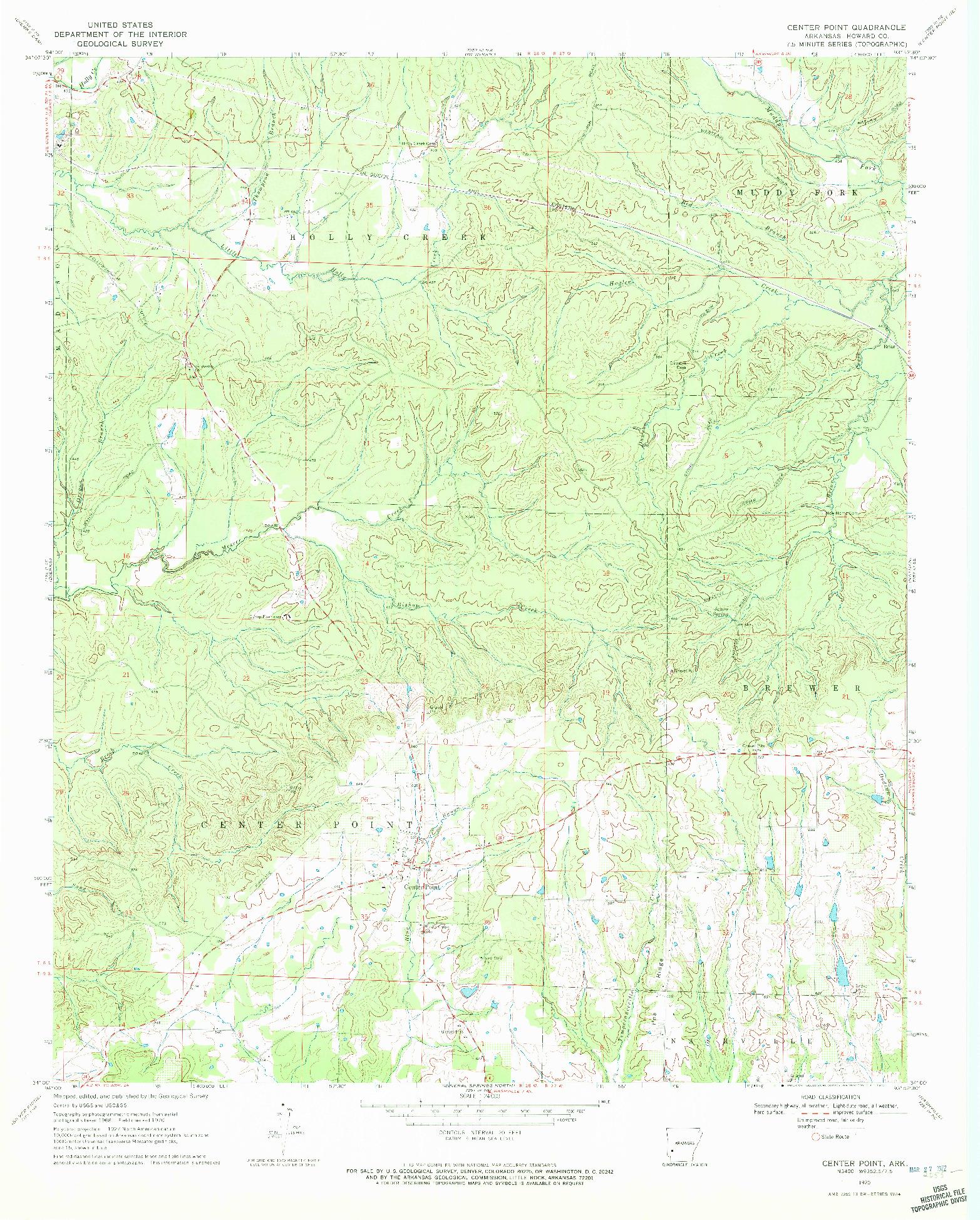 USGS 1:24000-SCALE QUADRANGLE FOR CENTER POINT, AR 1970