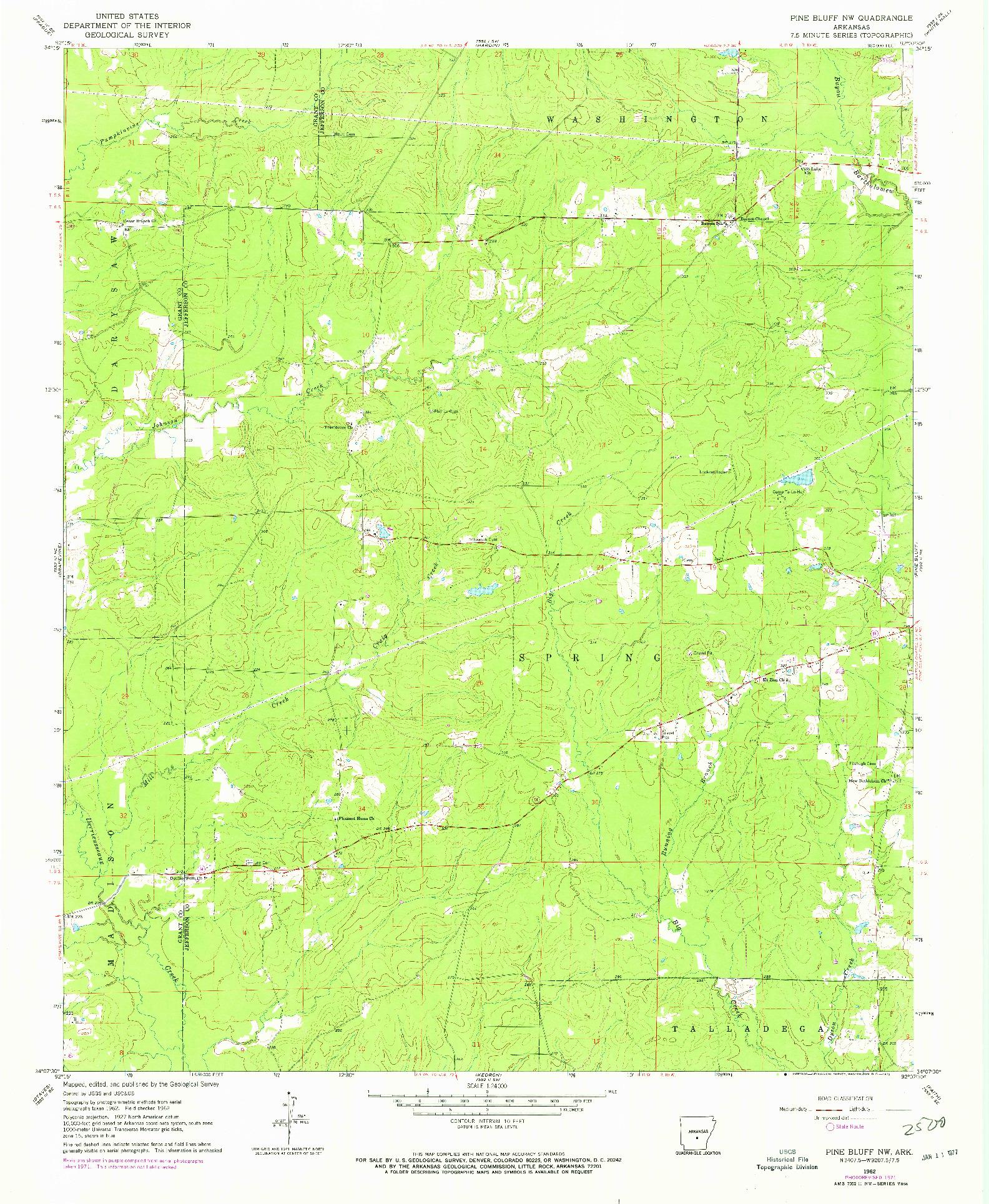 USGS 1:24000-SCALE QUADRANGLE FOR PINE BLUFF NW, AR 1962