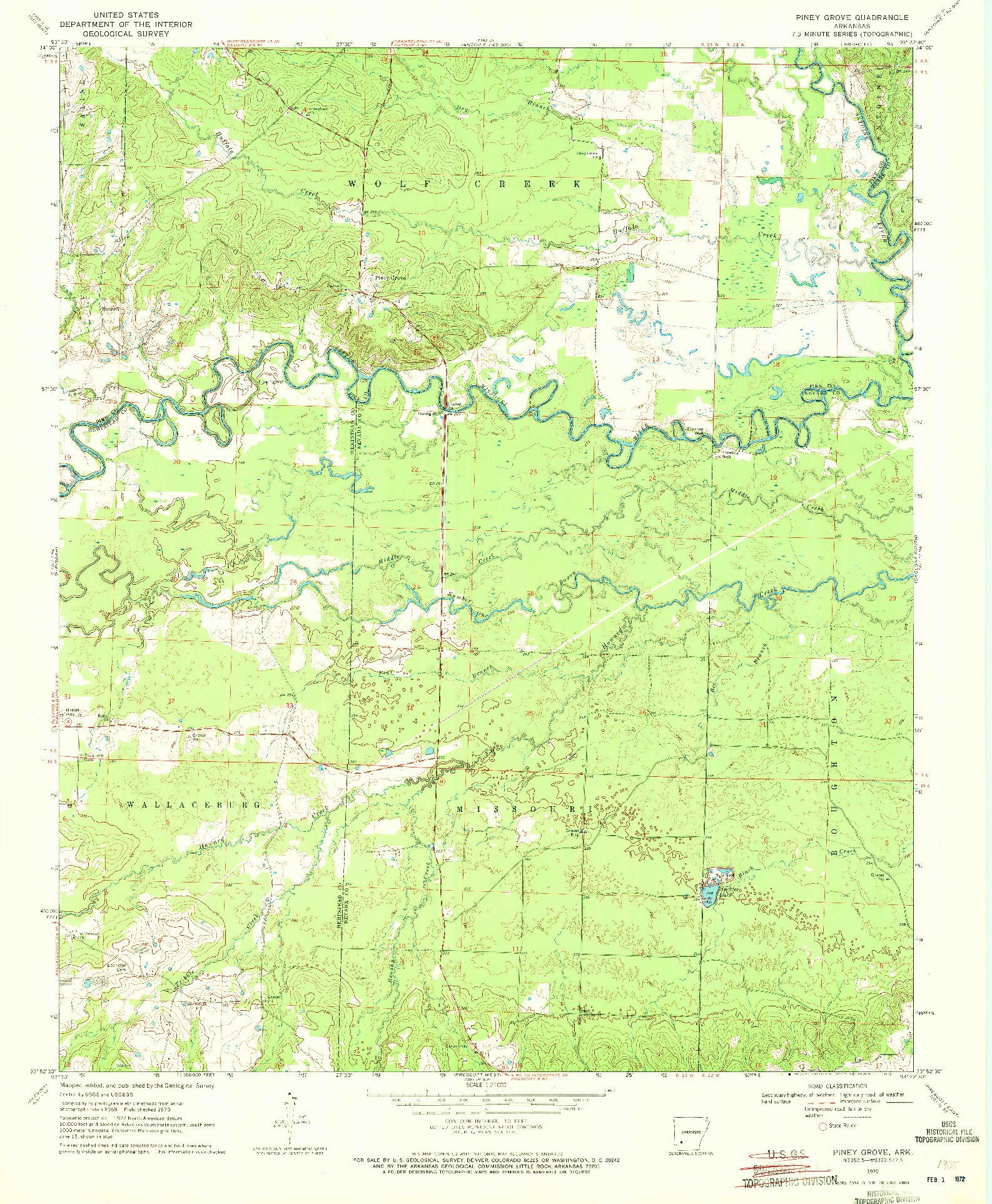 USGS 1:24000-SCALE QUADRANGLE FOR PINEY GROVE, AR 1970