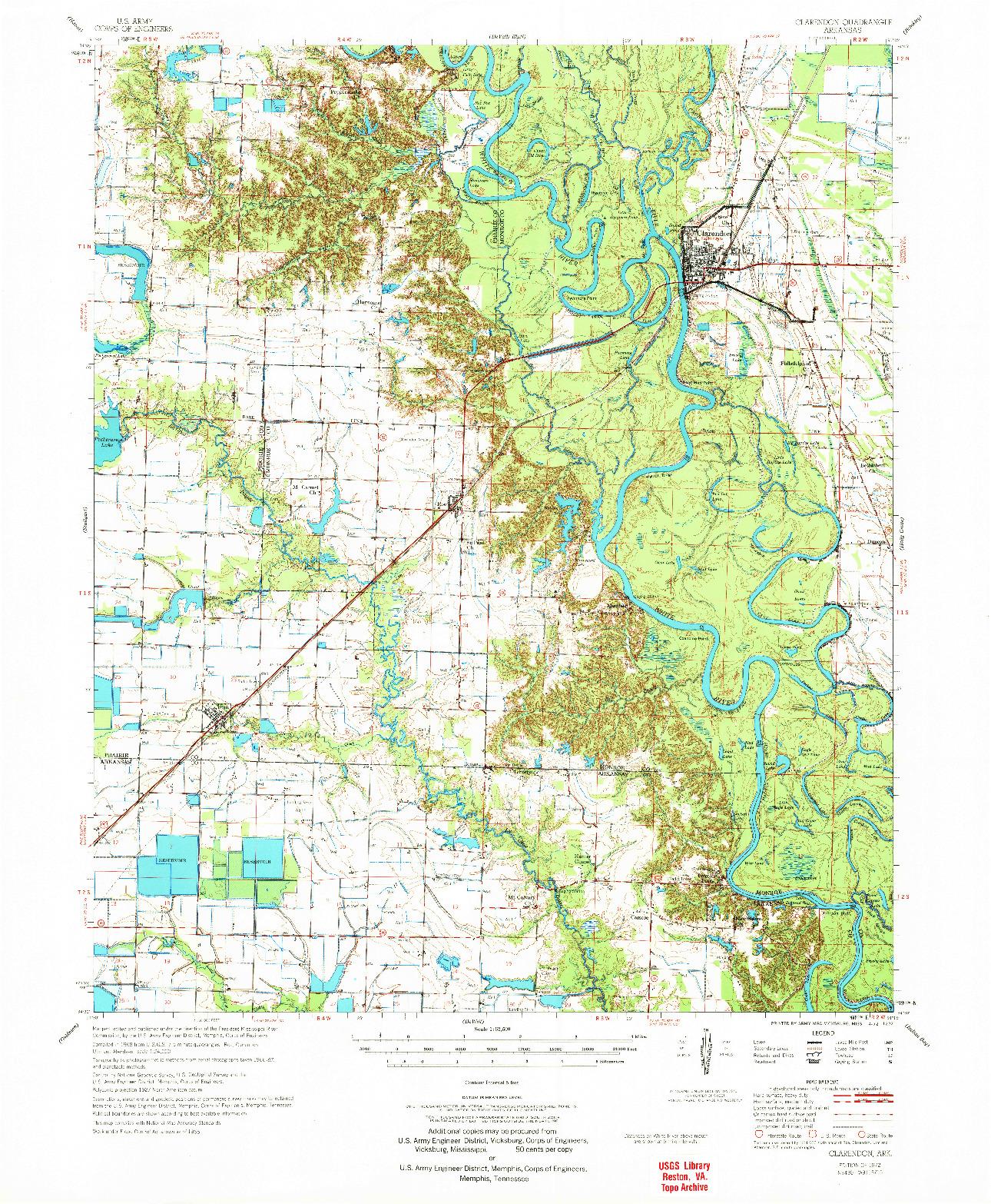 USGS 1:62500-SCALE QUADRANGLE FOR CLARENDON, AR 1972