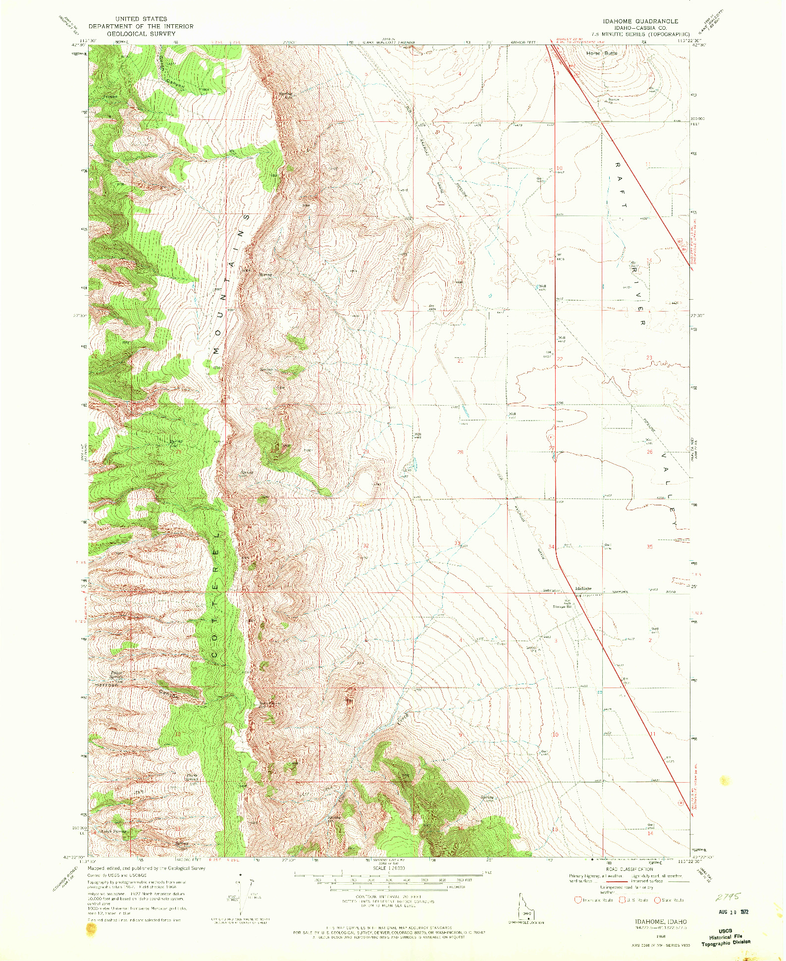 USGS 1:24000-SCALE QUADRANGLE FOR IDAHOME, ID 1968