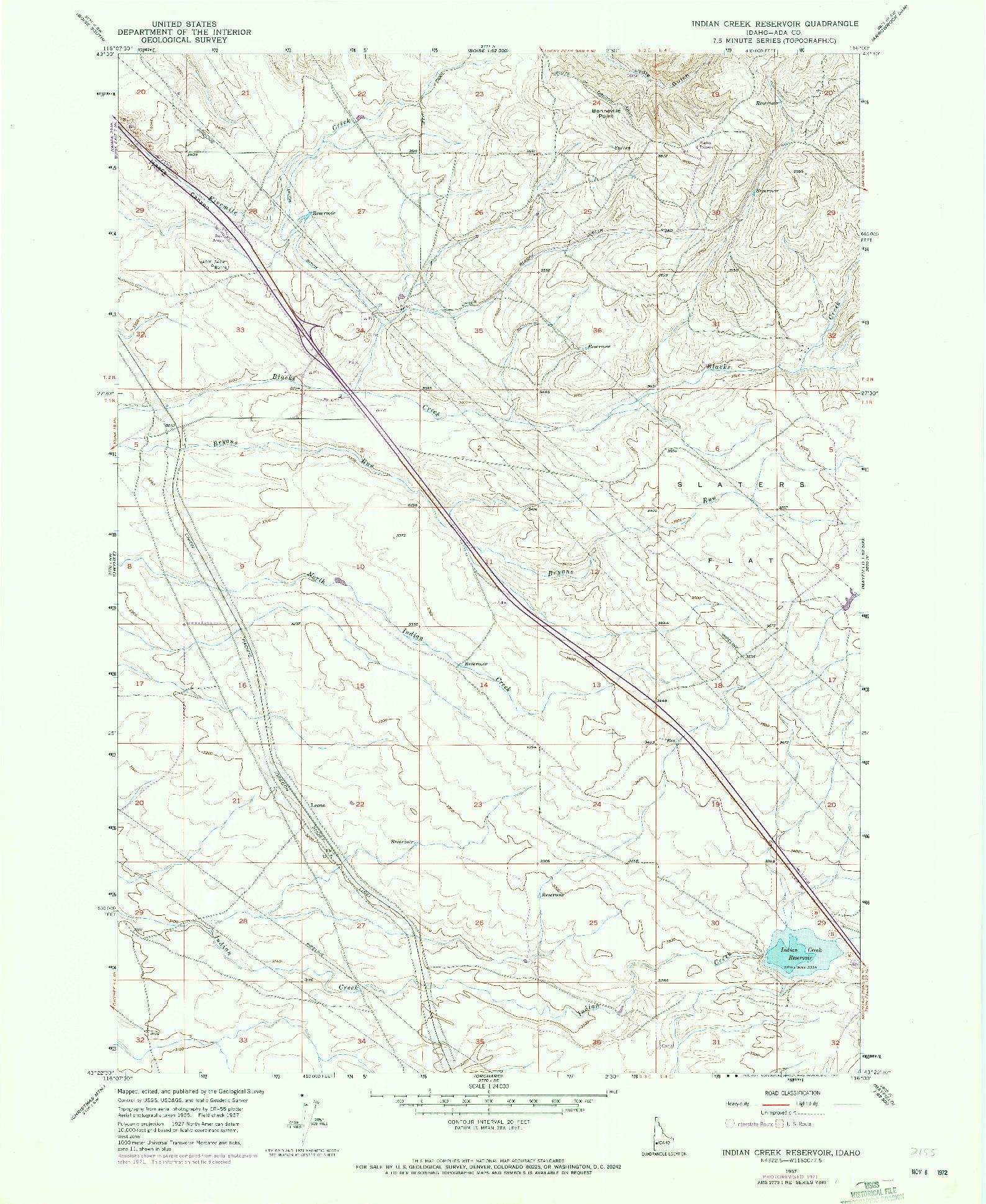 USGS 1:24000-SCALE QUADRANGLE FOR INDIAN CREEK RESERVOIR, ID 1957