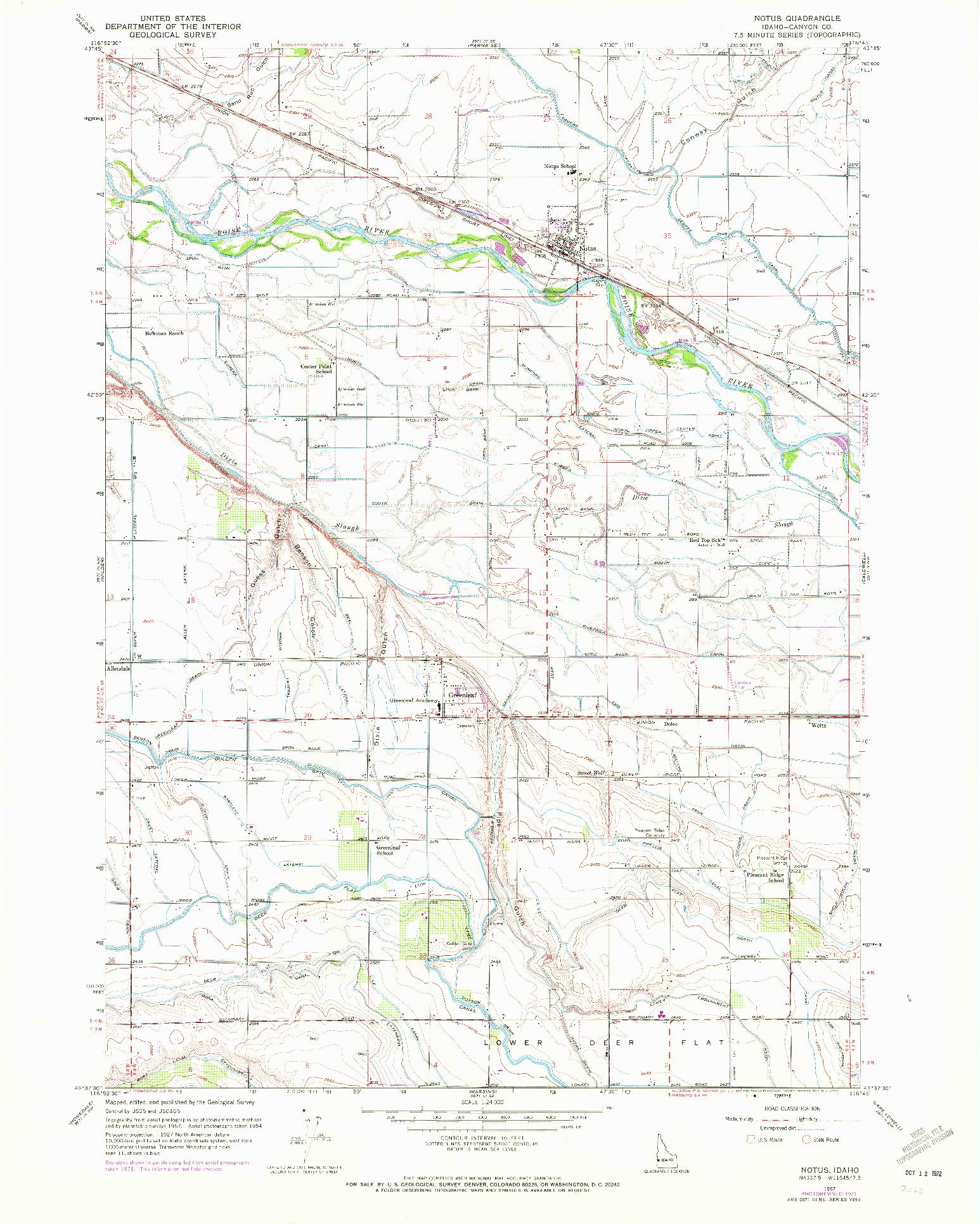 USGS 1:24000-SCALE QUADRANGLE FOR NOTUS, ID 1957