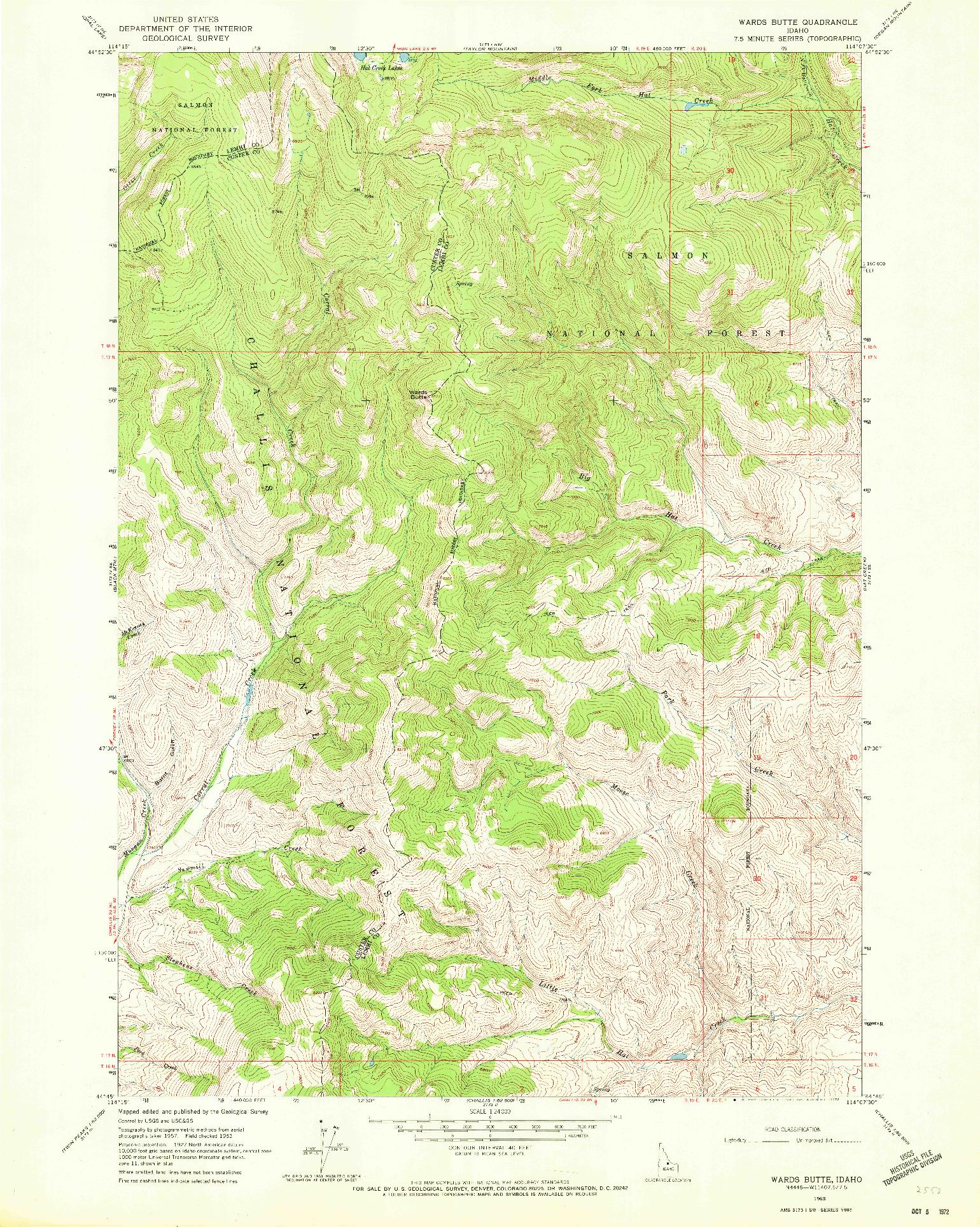 USGS 1:24000-SCALE QUADRANGLE FOR WARDS BUTTE, ID 1963