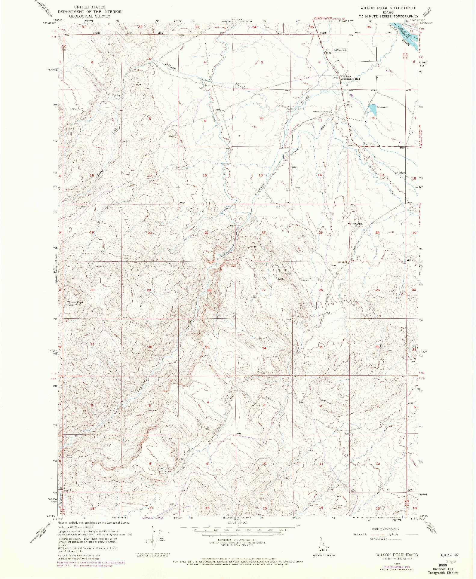 USGS 1:24000-SCALE QUADRANGLE FOR WILSON PEAK, ID 1957