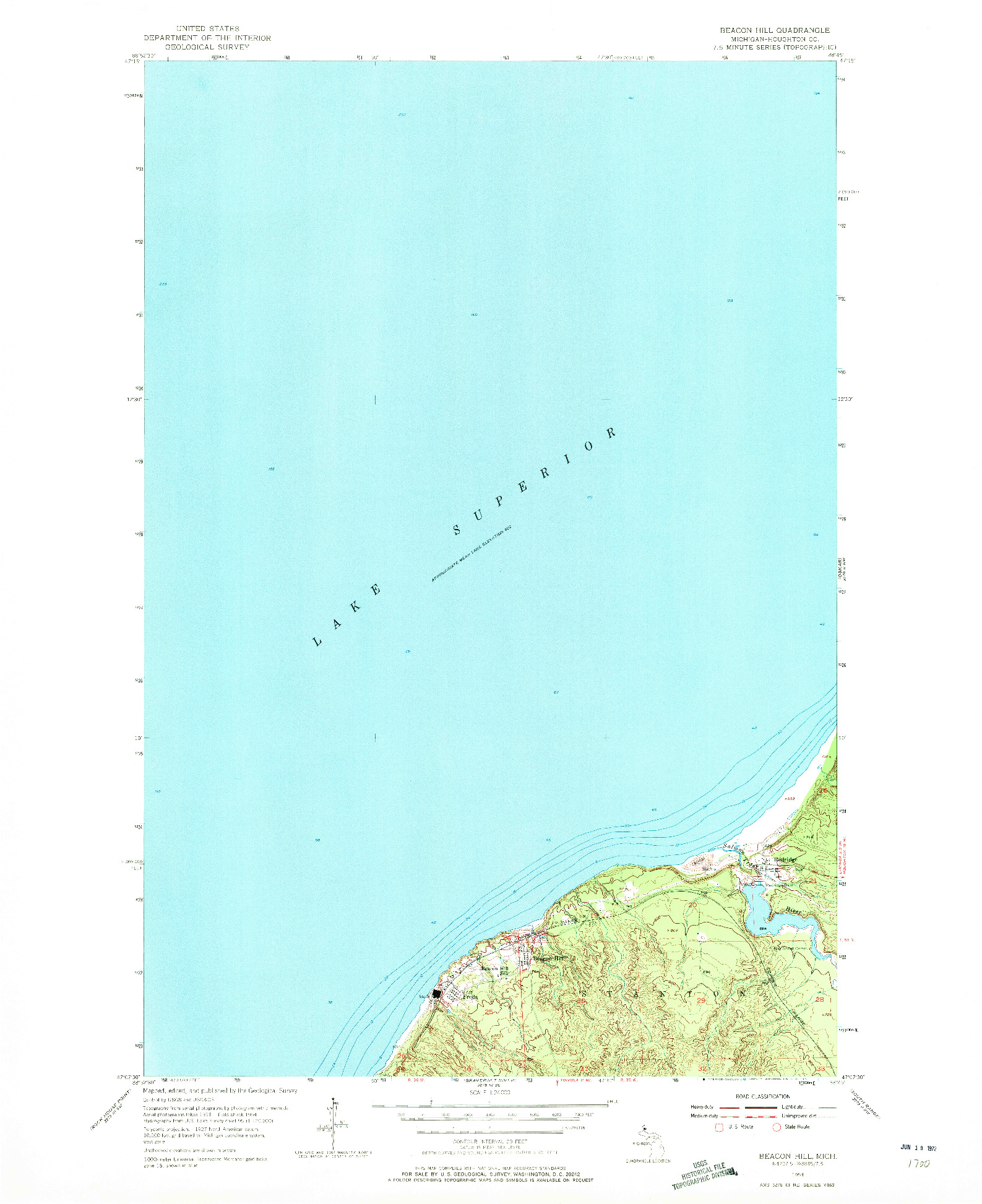USGS 1:24000-SCALE QUADRANGLE FOR BEACON HILL, MI 1954