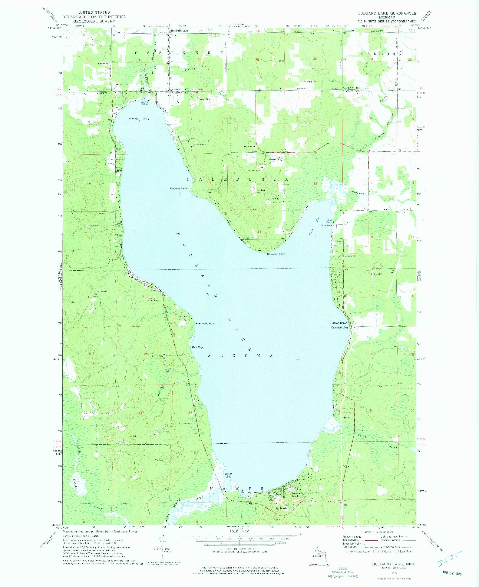 USGS 1:24000-SCALE QUADRANGLE FOR HUBBARD LAKE, MI 1972