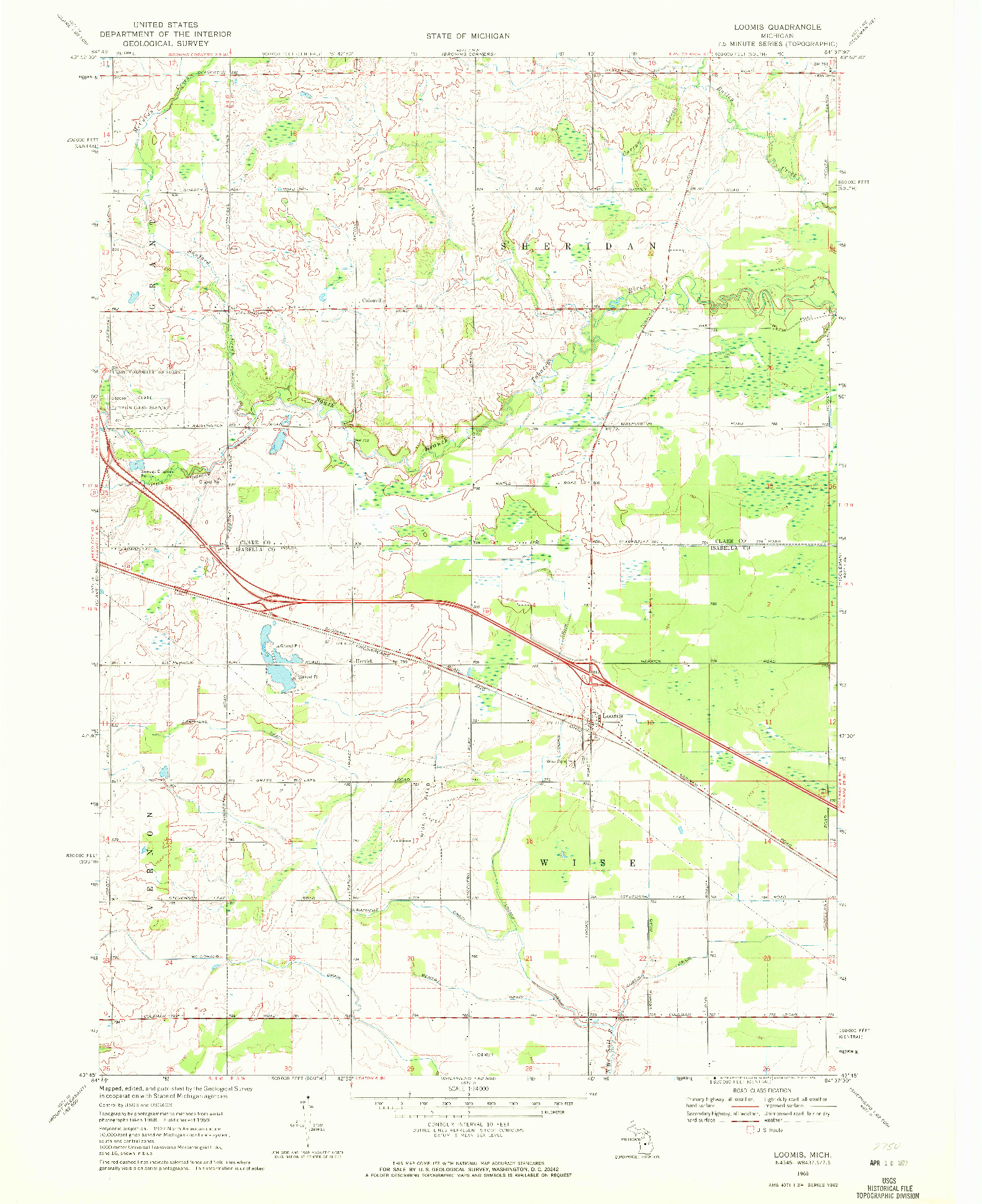 USGS 1:24000-SCALE QUADRANGLE FOR LOOMIS, MI 1969