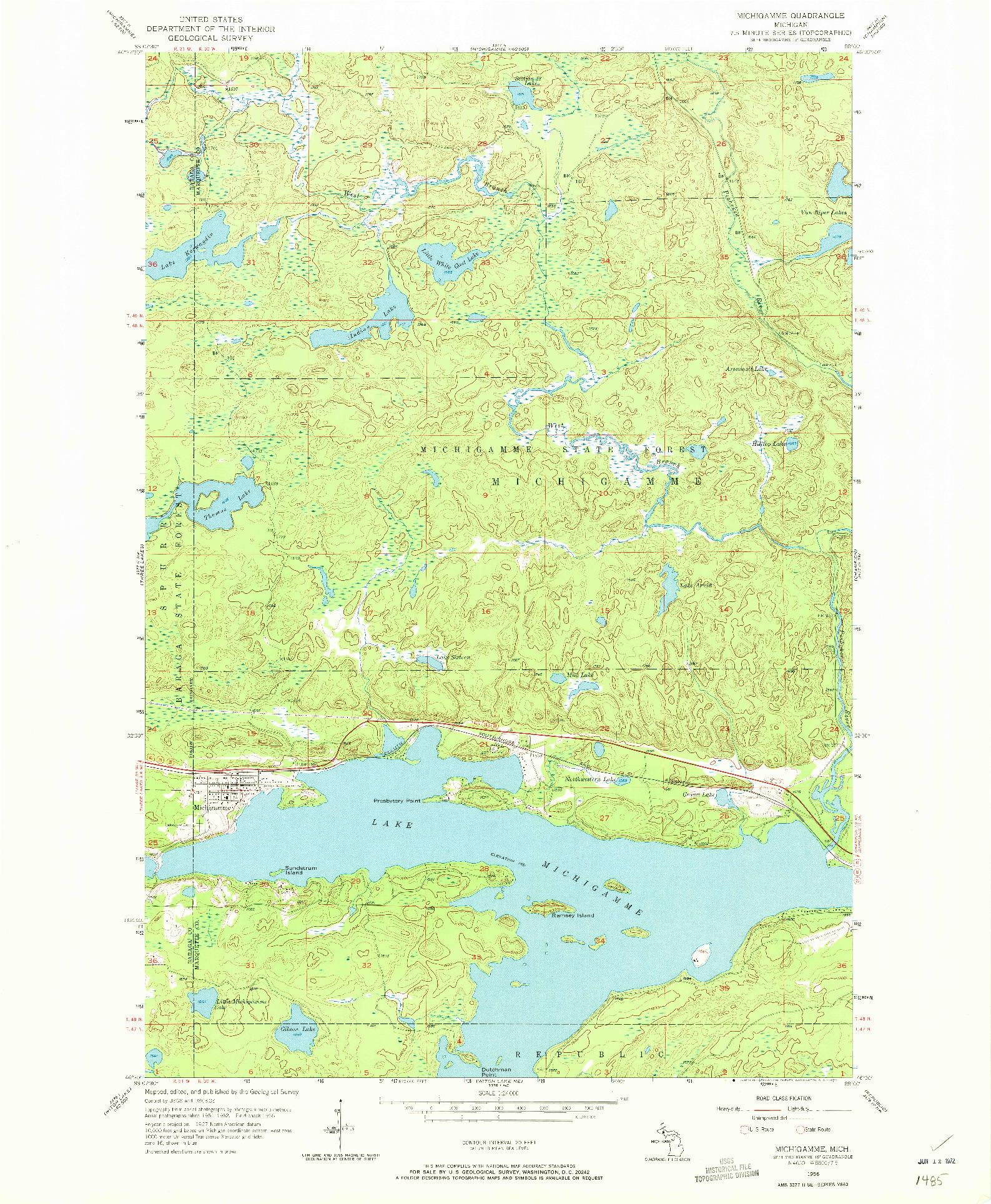 USGS 1:24000-SCALE QUADRANGLE FOR MICHIGAMME, MI 1956