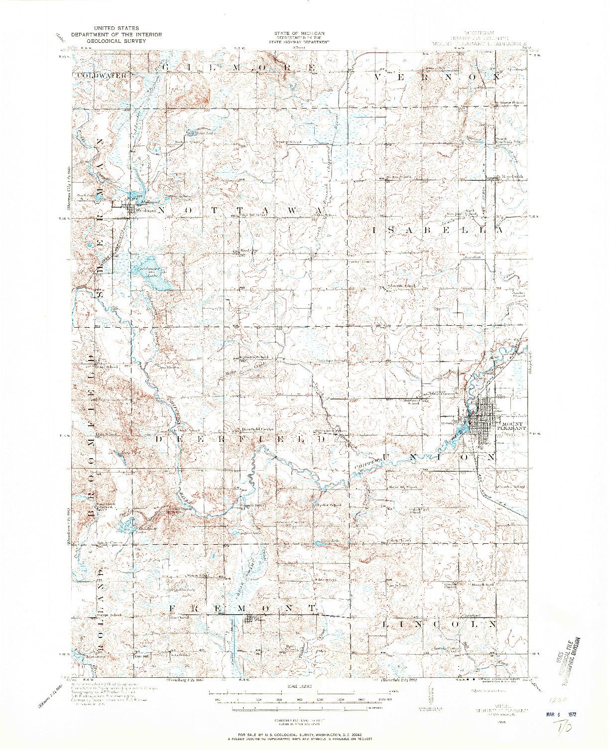 USGS 1:62500-SCALE QUADRANGLE FOR MOUNT PLEASANT, MI 1916