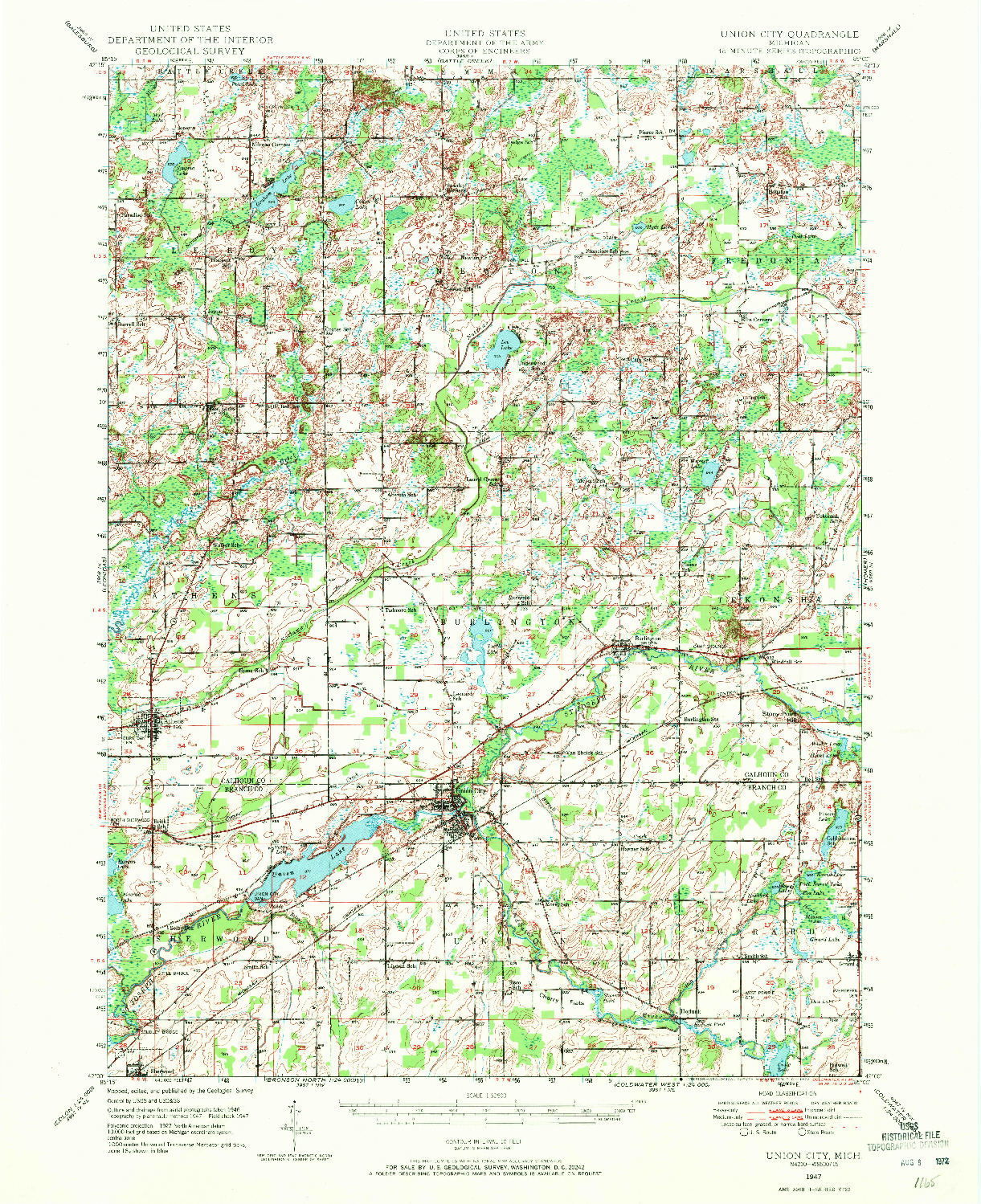 USGS 1:62500-SCALE QUADRANGLE FOR UNION CITY, MI 1947