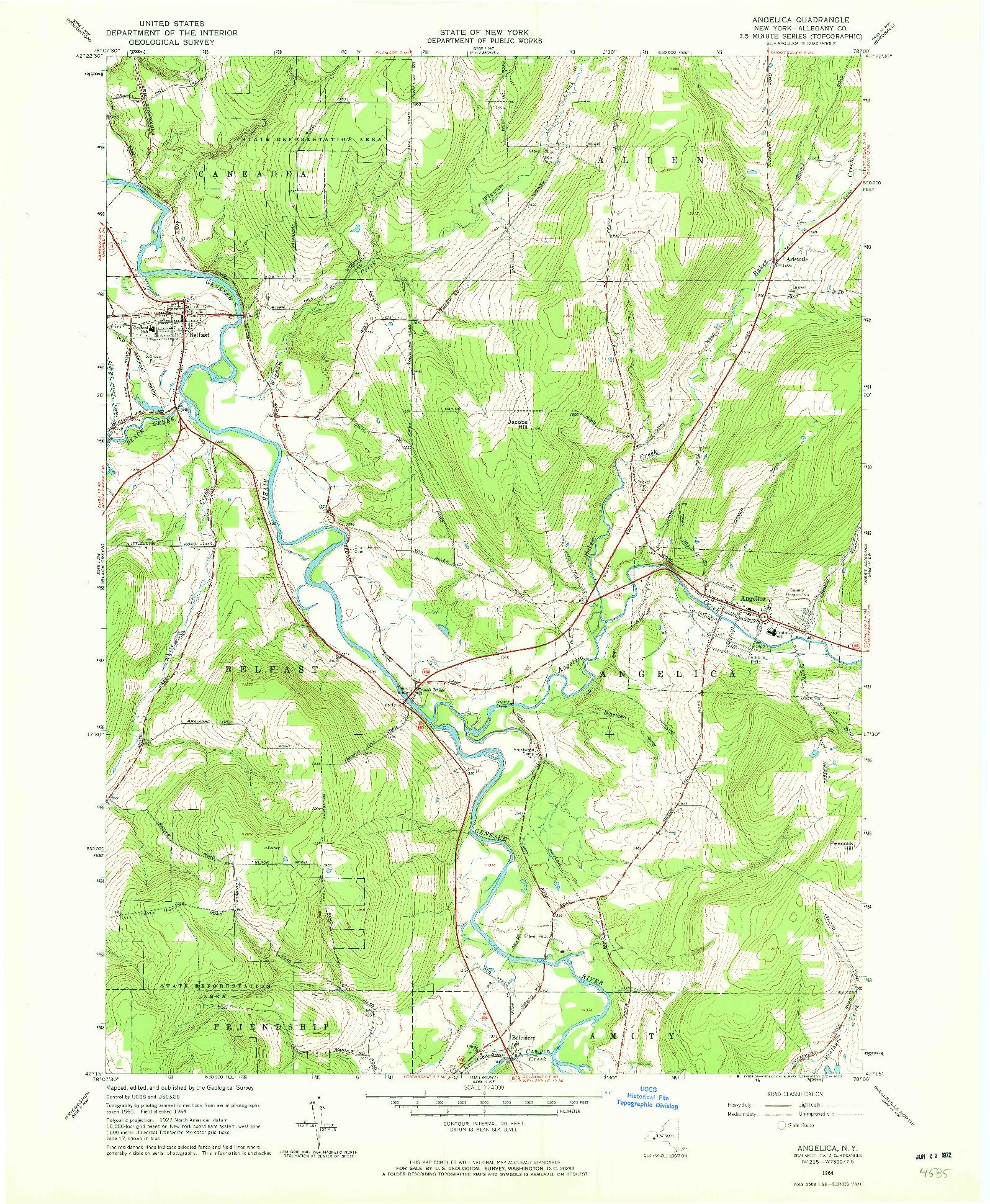 USGS 1:24000-SCALE QUADRANGLE FOR ANGELICA, NY 1964