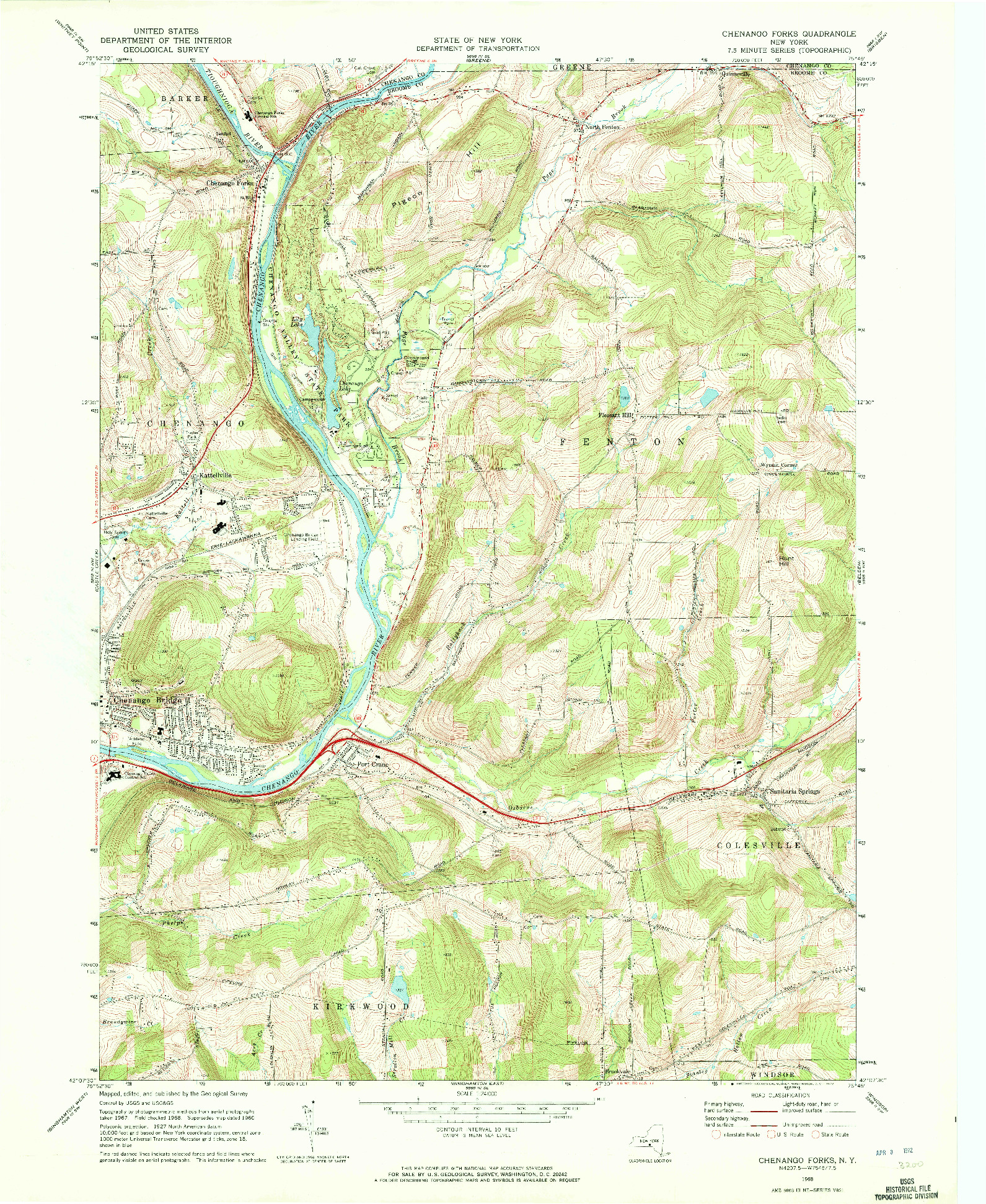 USGS 1:24000-SCALE QUADRANGLE FOR CHENANGO FORKS, NY 1968