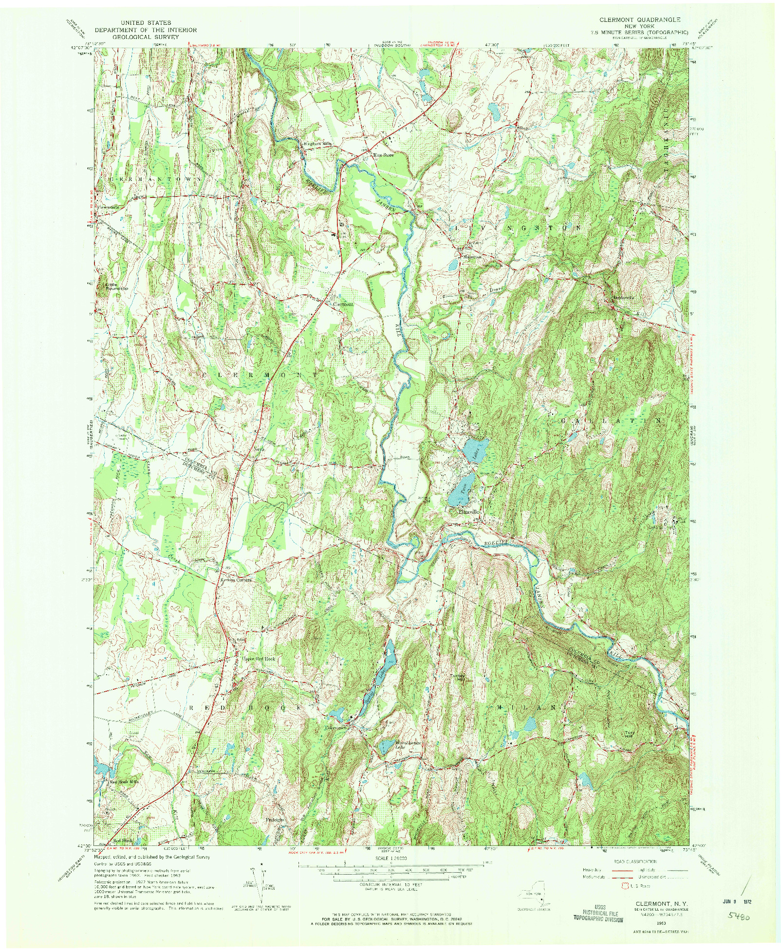 USGS 1:24000-SCALE QUADRANGLE FOR CLERMONT, NY 1963