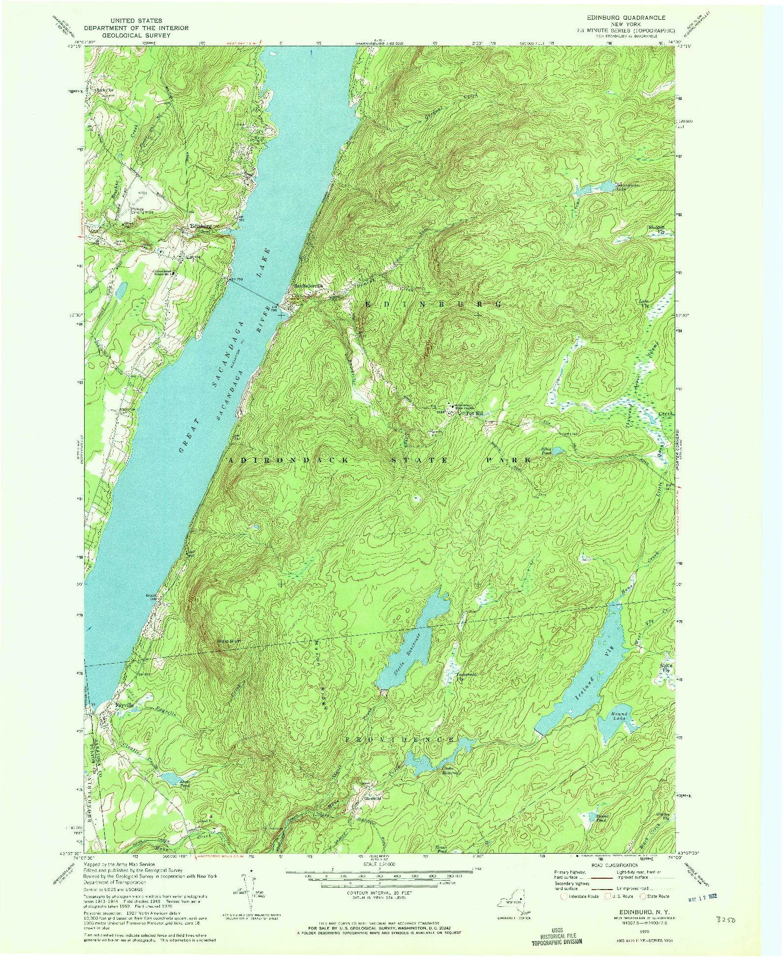 USGS 1:24000-SCALE QUADRANGLE FOR EDINBURG, NY 1970