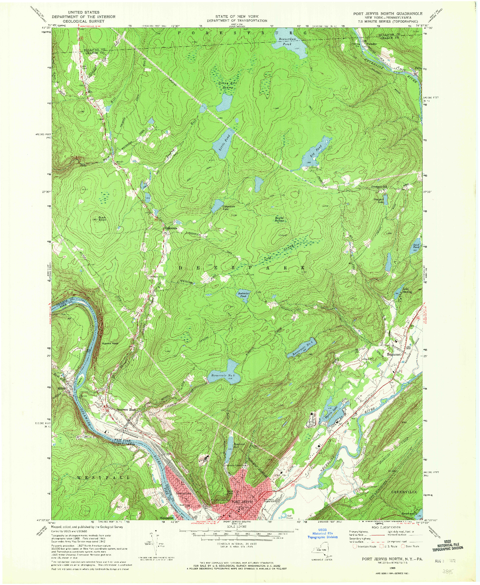 USGS 1:24000-SCALE QUADRANGLE FOR PORT JERVIS NORTH, NY 1969