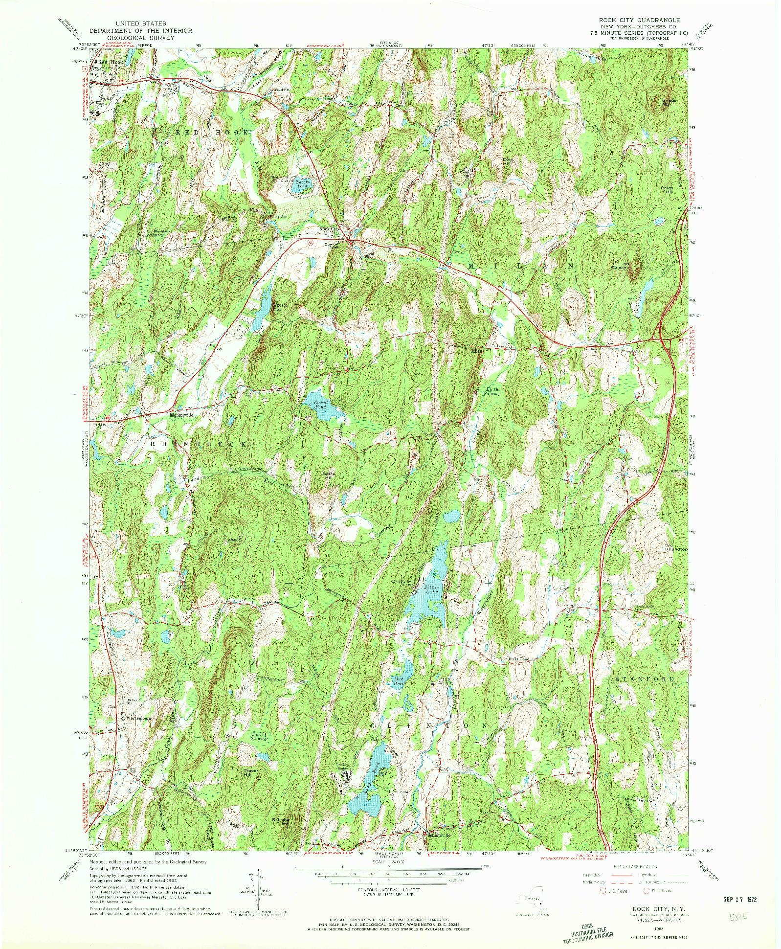 USGS 1:24000-SCALE QUADRANGLE FOR ROCK CITY, NY 1963