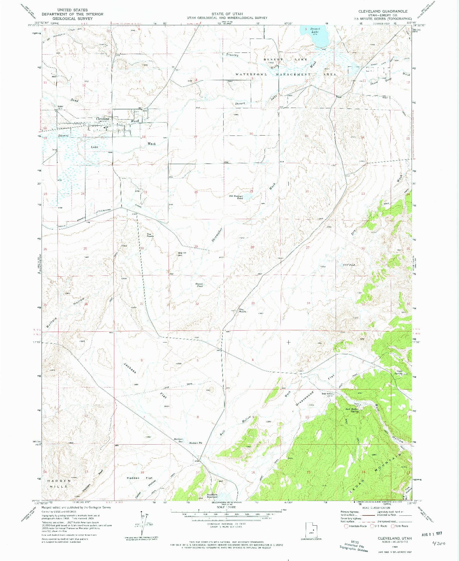 USGS 1:24000-SCALE QUADRANGLE FOR CLEVELAND, UT 1969