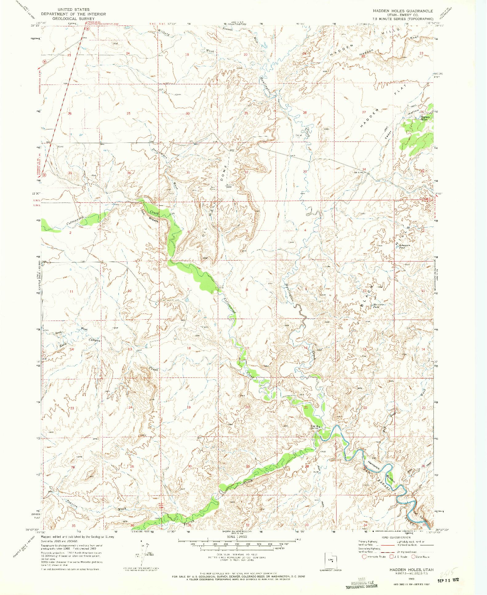 USGS 1:24000-SCALE QUADRANGLE FOR HADDEN HOLES, UT 1969