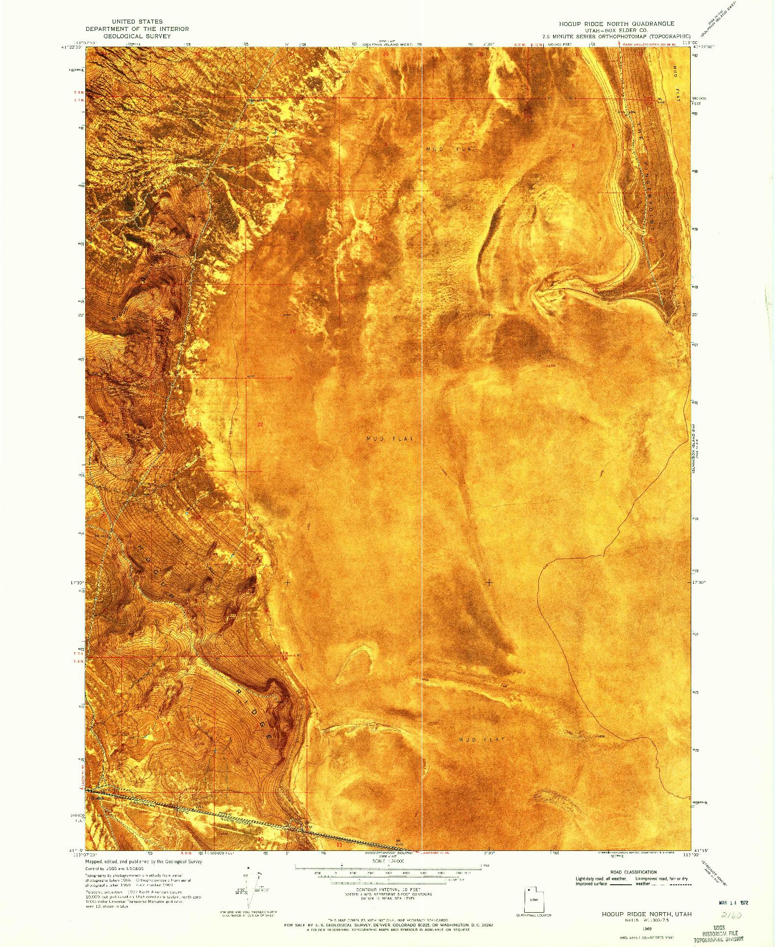 USGS 1:24000-SCALE QUADRANGLE FOR HOGUP RIDGE NORTH, UT 1969