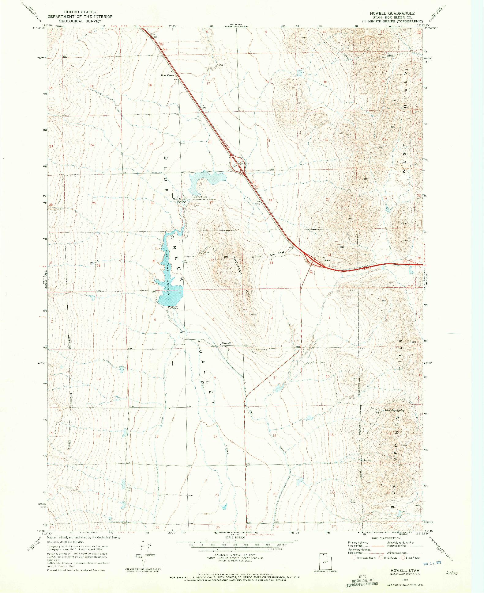 USGS 1:24000-SCALE QUADRANGLE FOR HOWELL, UT 1968