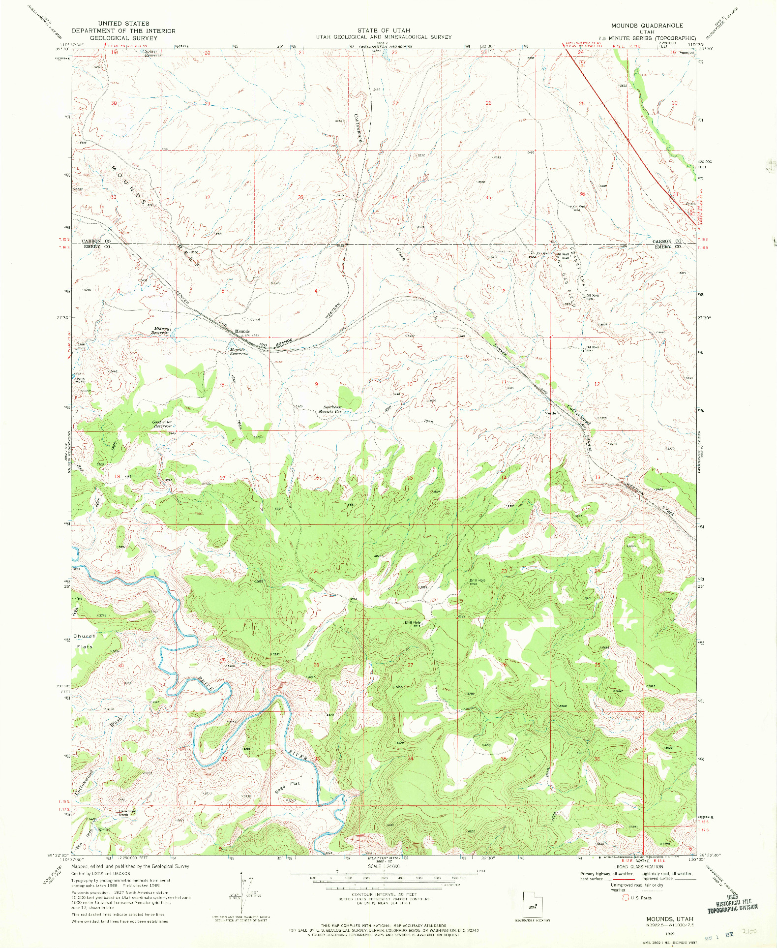 USGS 1:24000-SCALE QUADRANGLE FOR MOUNDS, UT 1969
