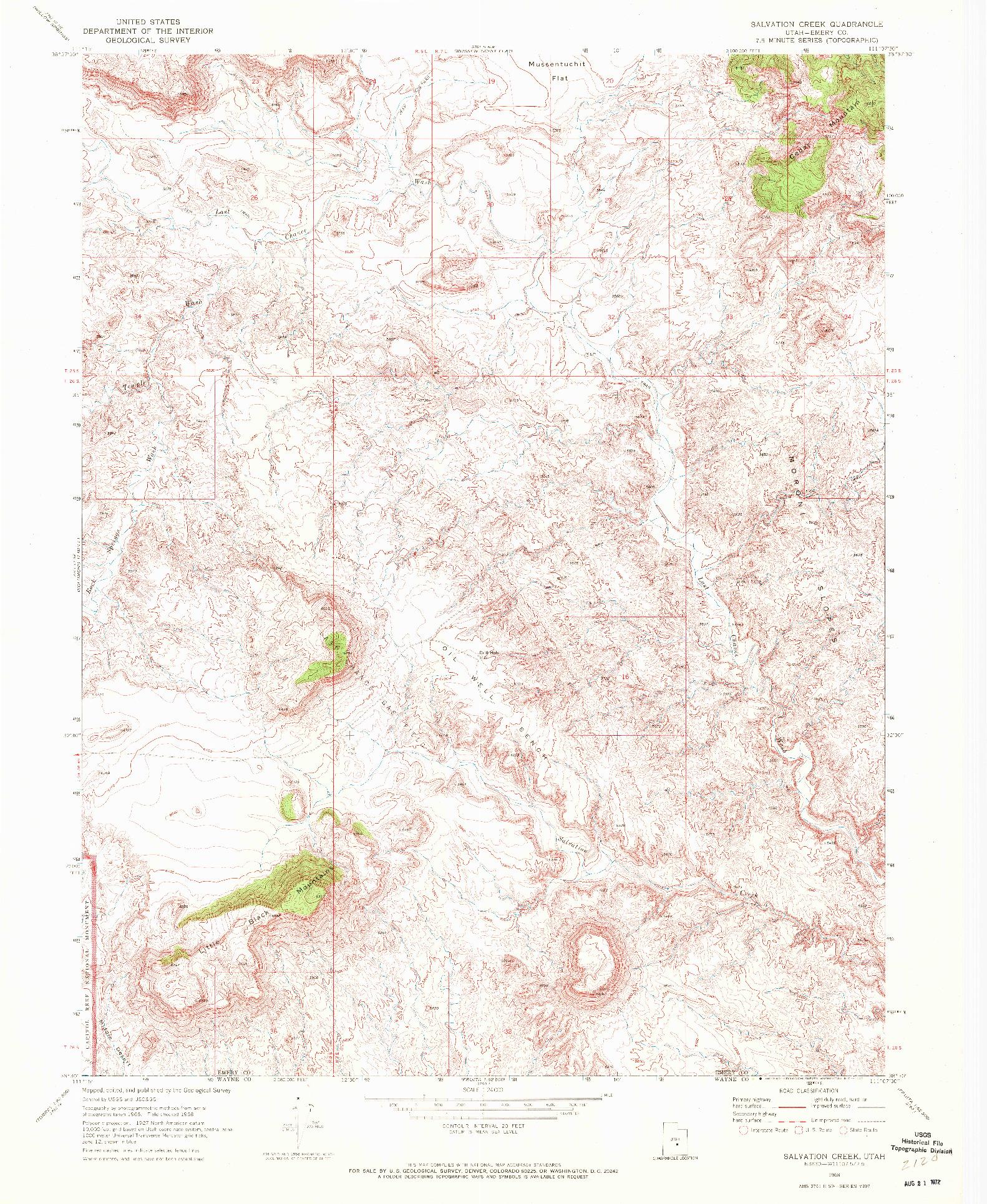 USGS 1:24000-SCALE QUADRANGLE FOR SALVATION CREEK, UT 1968