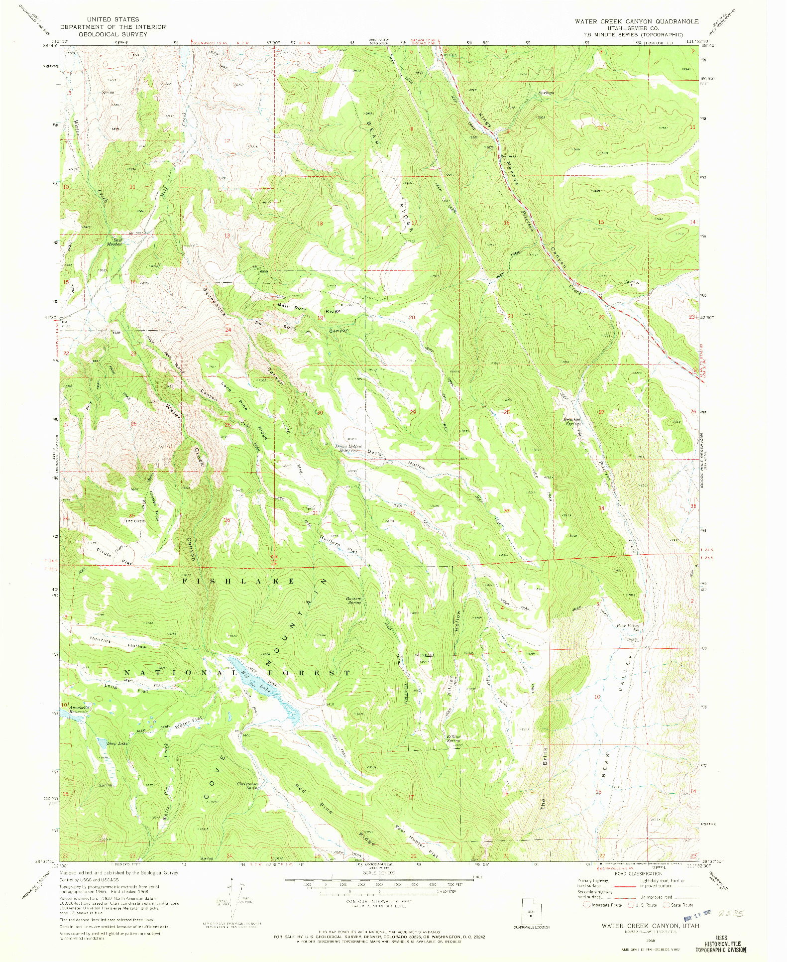 USGS 1:24000-SCALE QUADRANGLE FOR WATER CREEK CANYON, UT 1968