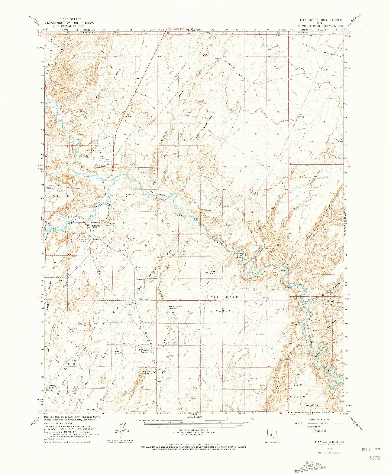 USGS 1:62500-SCALE QUADRANGLE FOR HANKSVILLE, UT 1963