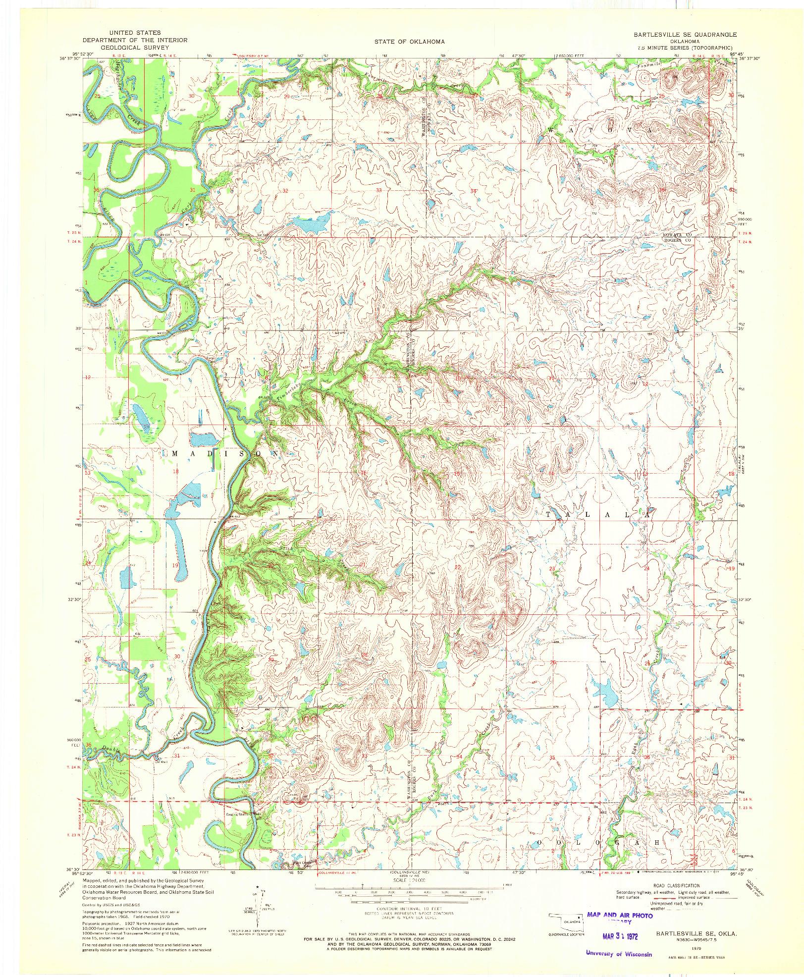 USGS 1:24000-SCALE QUADRANGLE FOR BARTLESVILLE SE, OK 1970