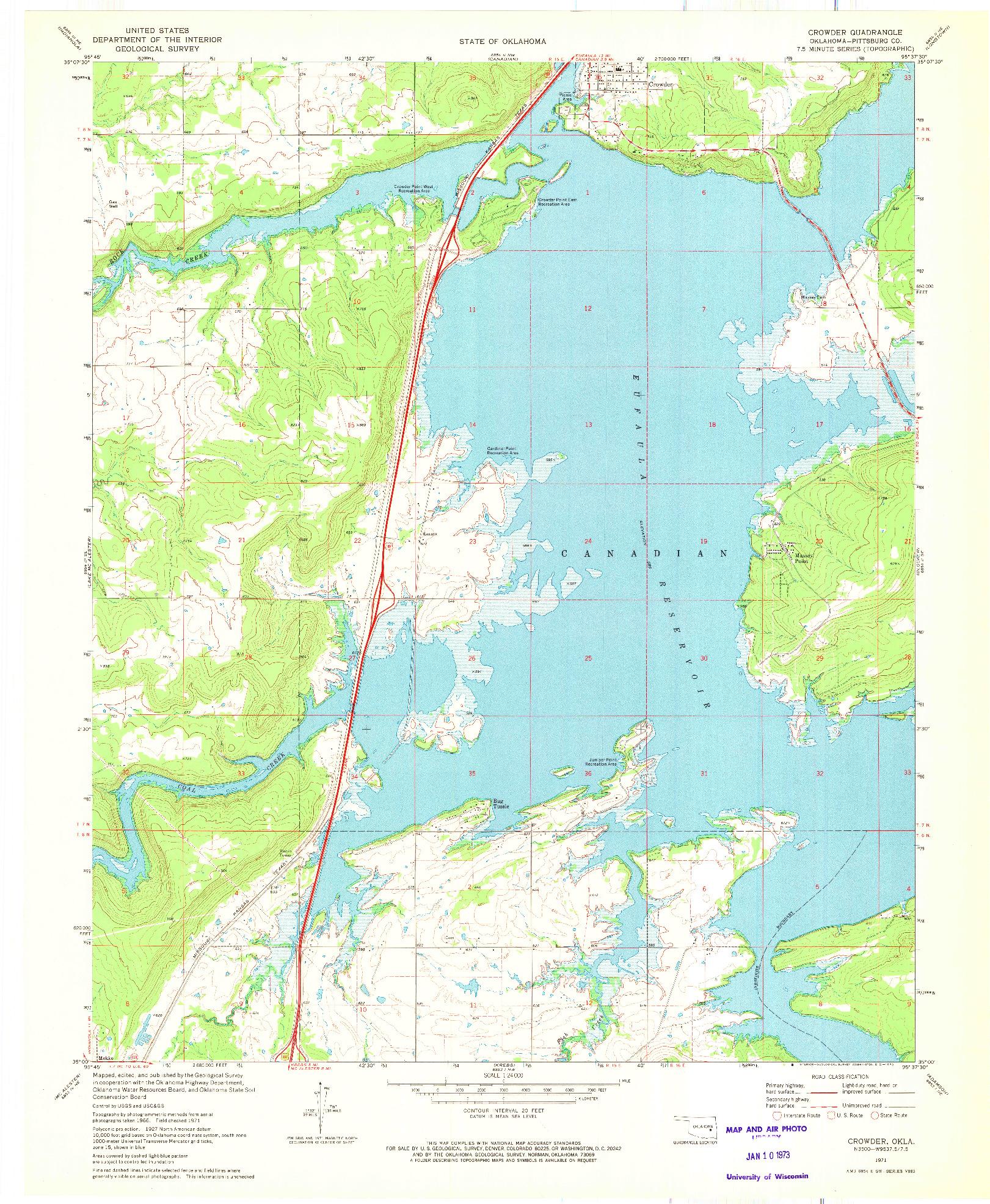 USGS 1:24000-SCALE QUADRANGLE FOR CROWDER, OK 1971