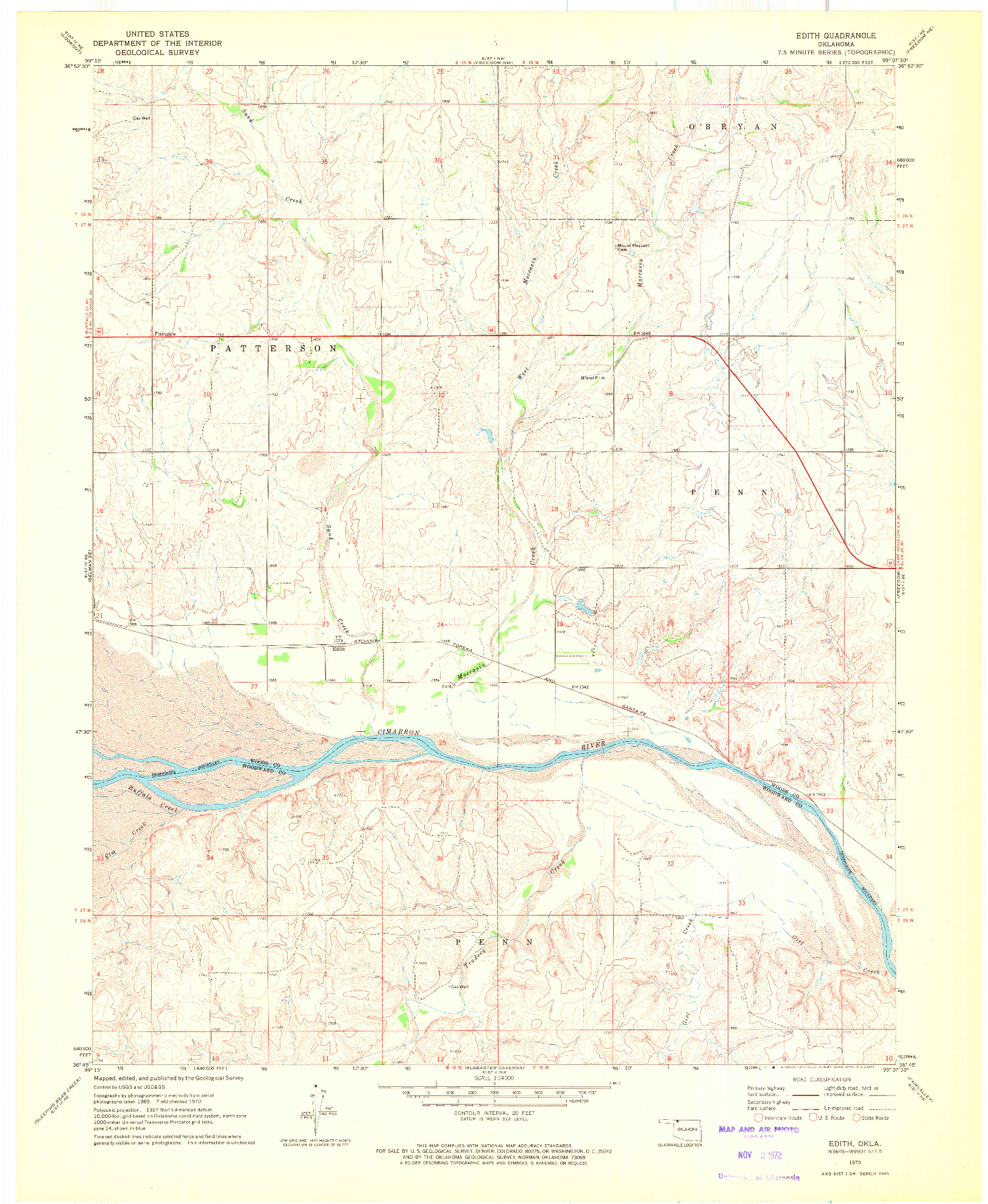 USGS 1:24000-SCALE QUADRANGLE FOR EDITH, OK 1970