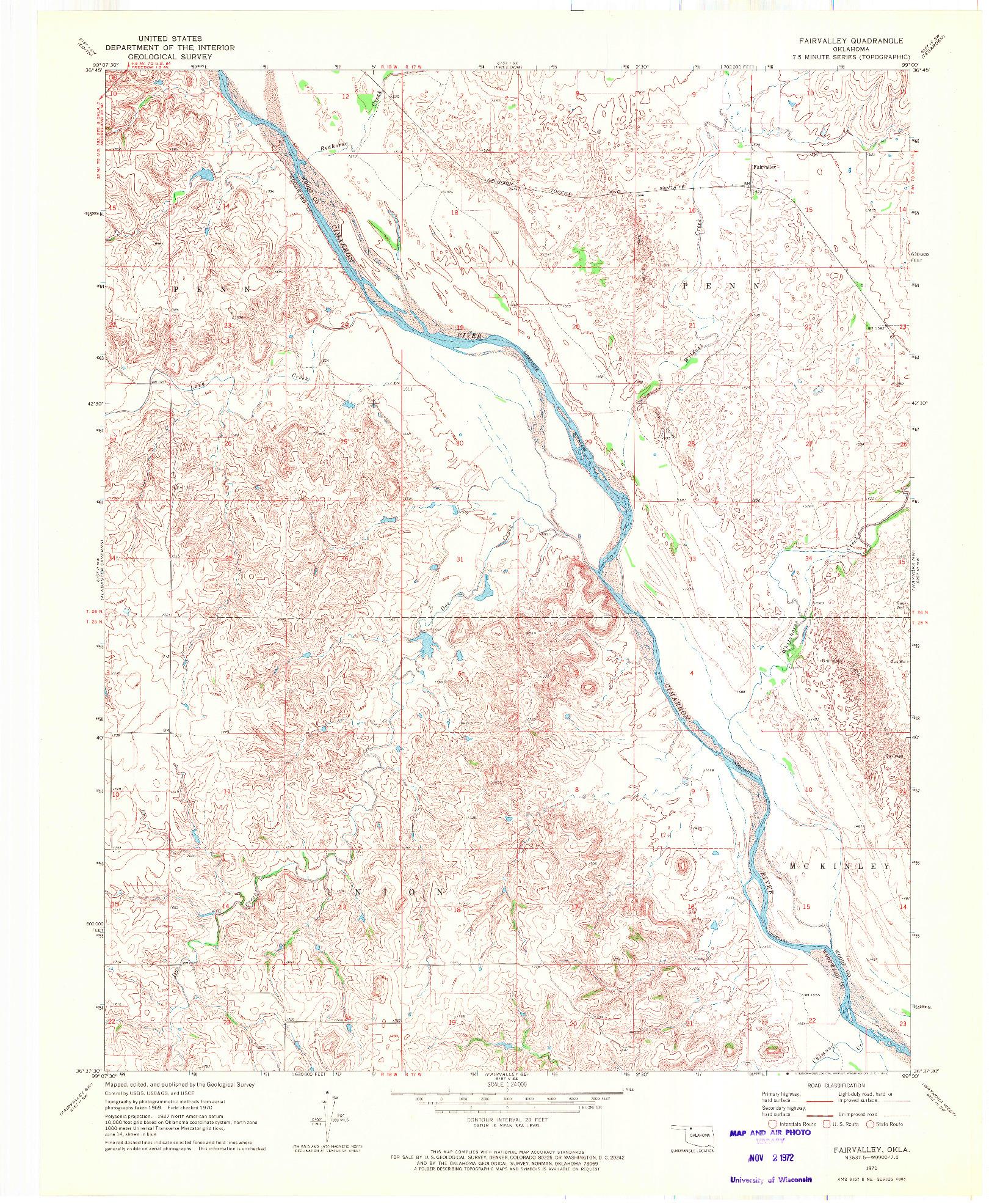 USGS 1:24000-SCALE QUADRANGLE FOR FAIRVALLEY, OK 1970