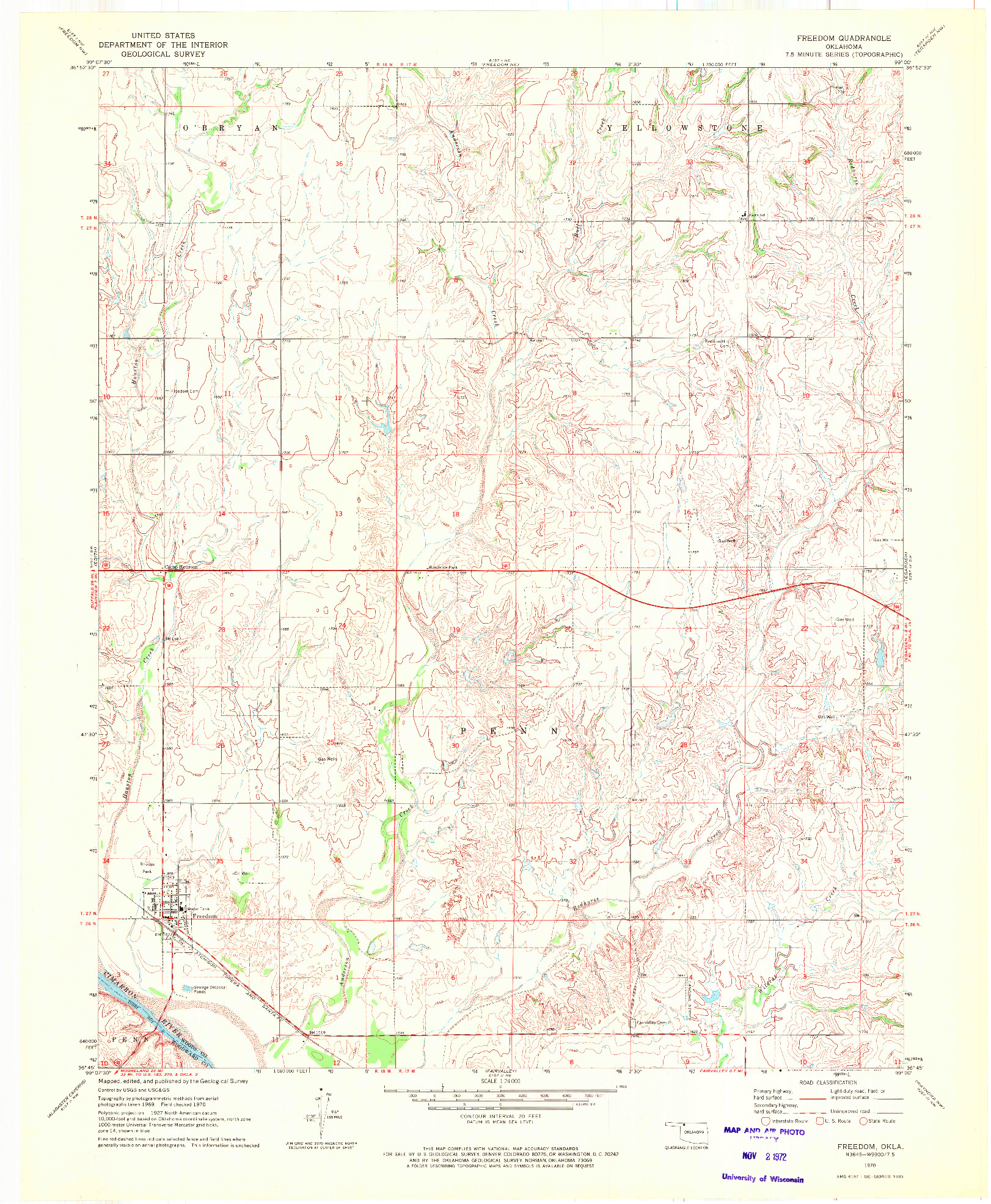 USGS 1:24000-SCALE QUADRANGLE FOR FREEDOM, OK 1970