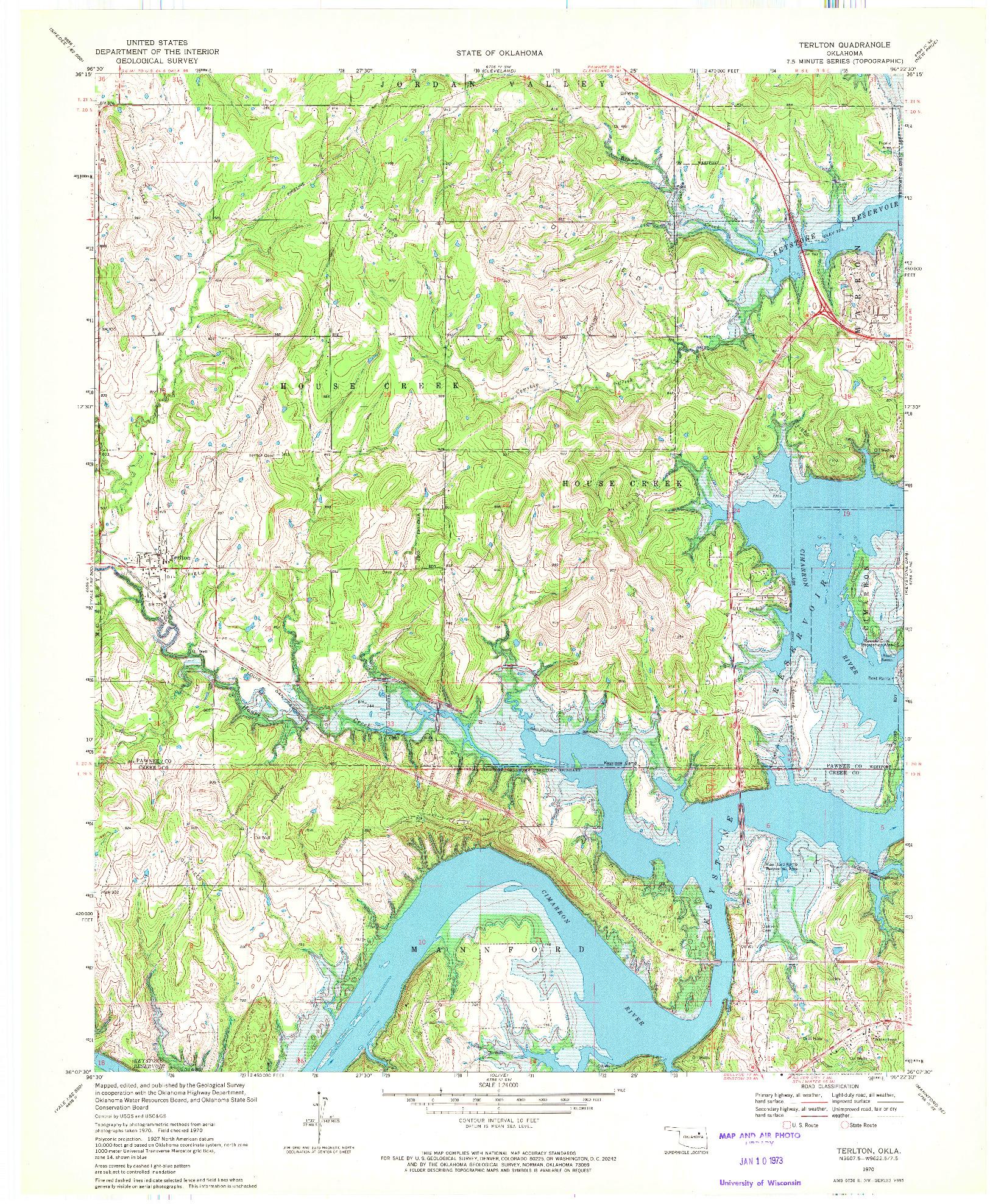 USGS 1:24000-SCALE QUADRANGLE FOR TERLTON, OK 1970