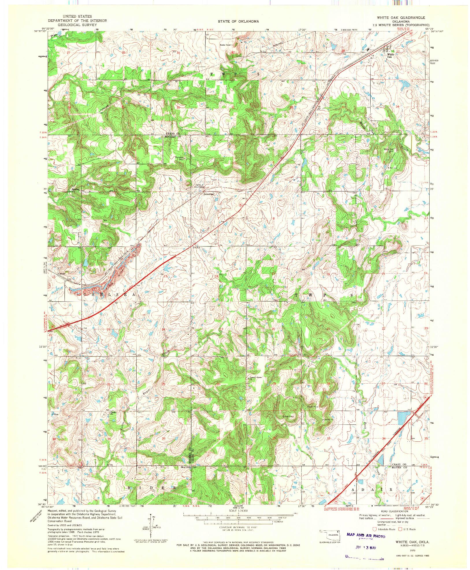 USGS 1:24000-SCALE QUADRANGLE FOR WHITE OAK, OK 1970