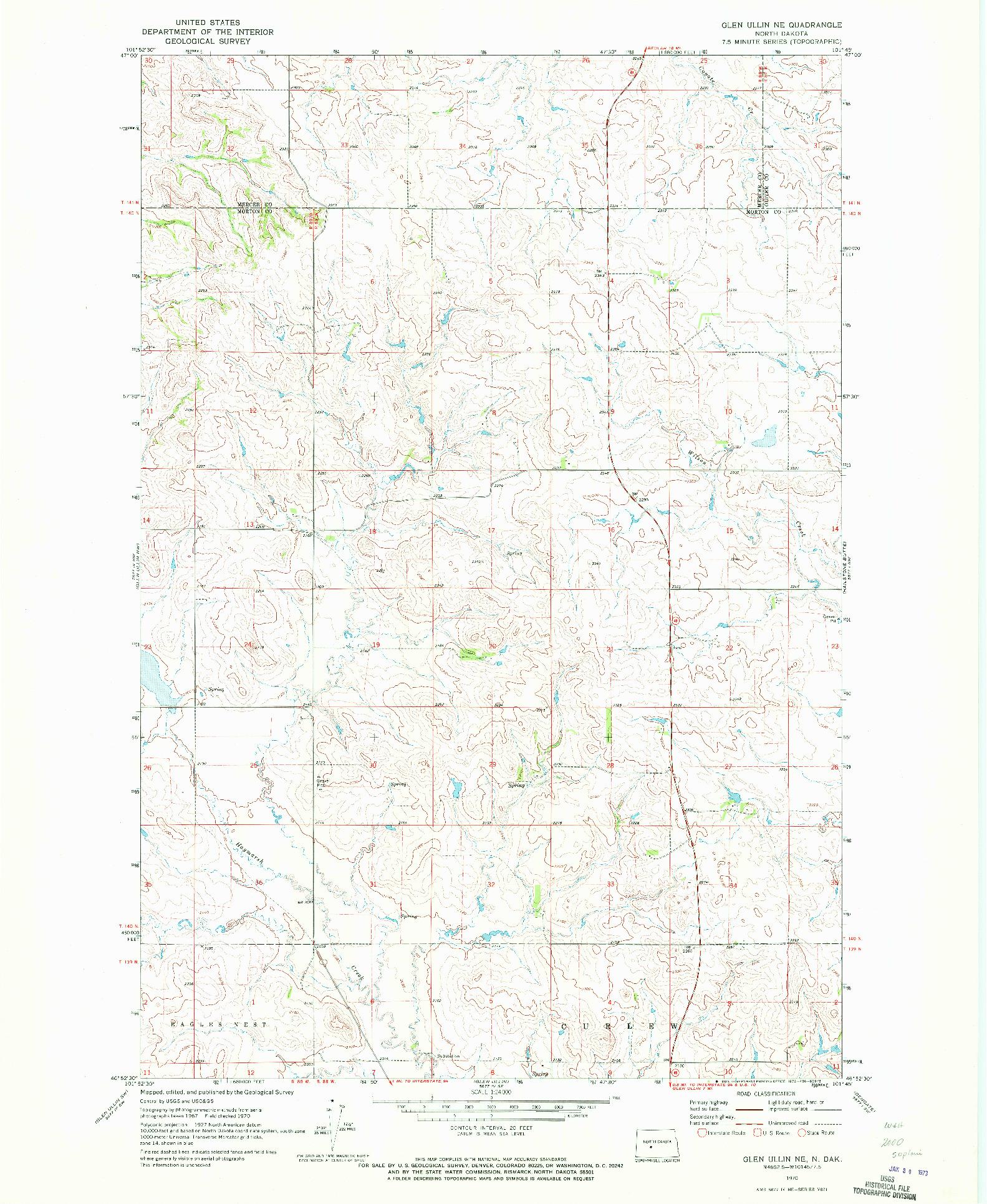 USGS 1:24000-SCALE QUADRANGLE FOR GLEN ULLIN NE, ND 1970