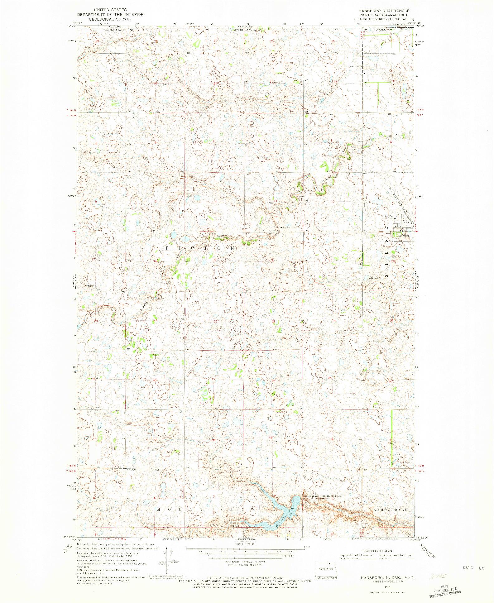 USGS 1:24000-SCALE QUADRANGLE FOR HANSBORO, ND 1969