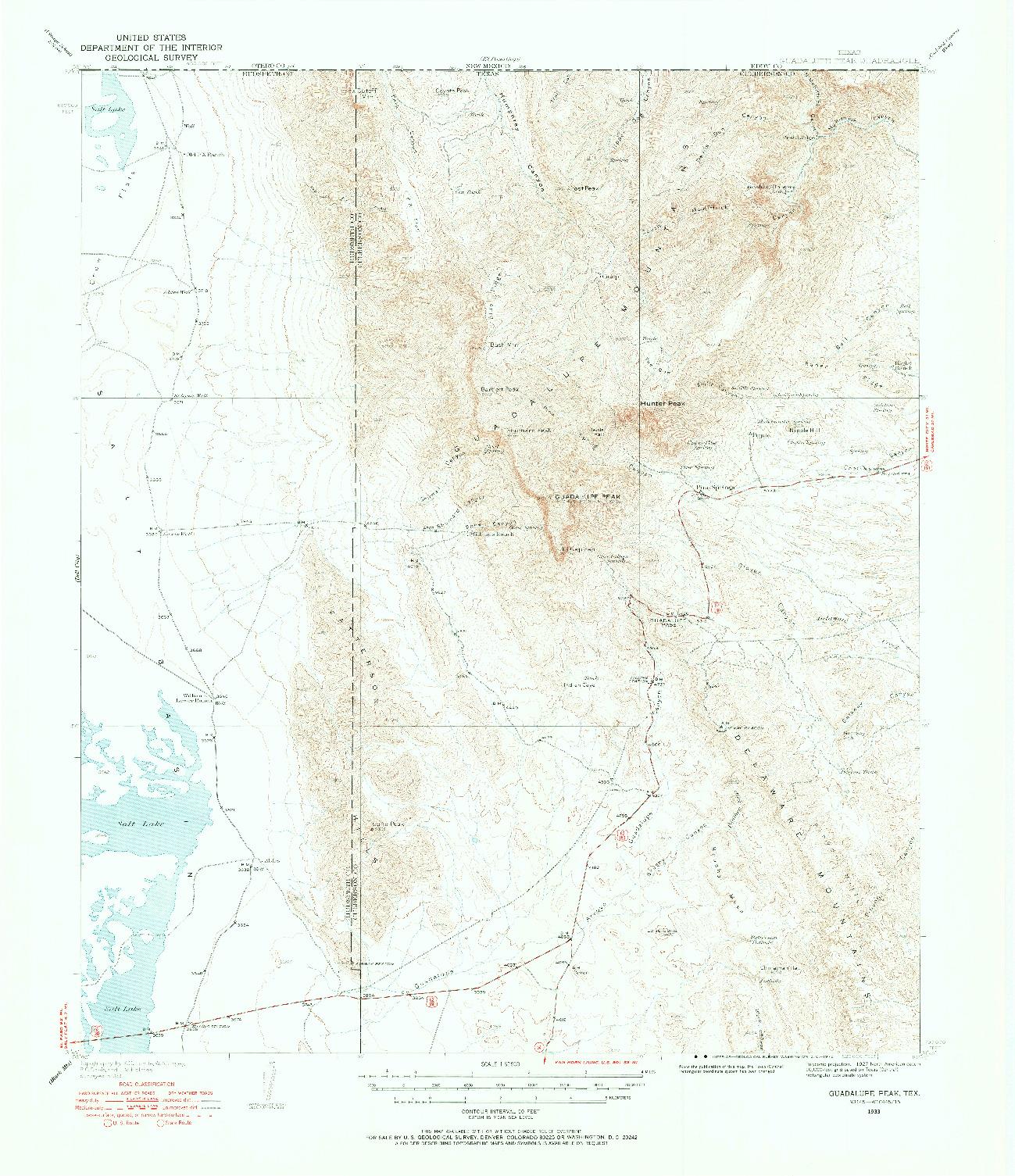 USGS 1:62500-SCALE QUADRANGLE FOR GUADALUPE PEAK, TX 1933