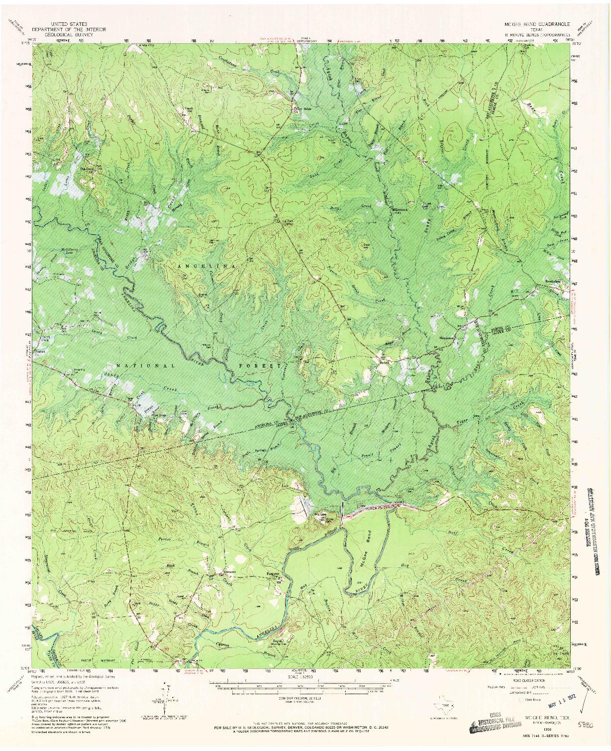 USGS 1:62500-SCALE QUADRANGLE FOR MC GEE BEND, TX 1958