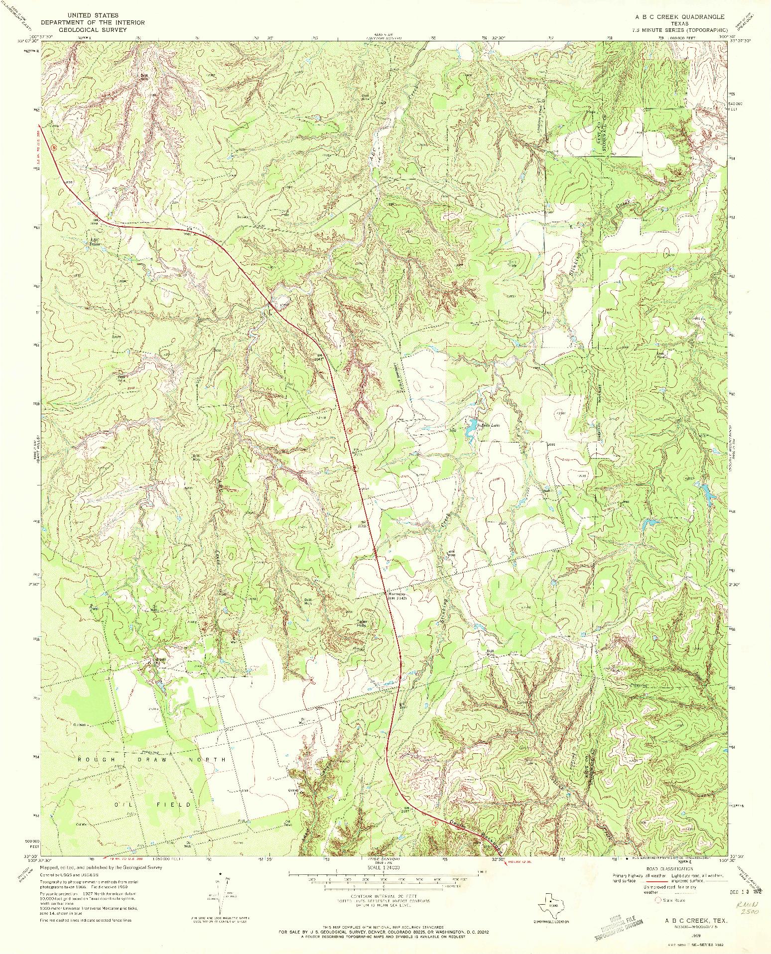 USGS 1:24000-SCALE QUADRANGLE FOR A B C CREEK, TX 1969