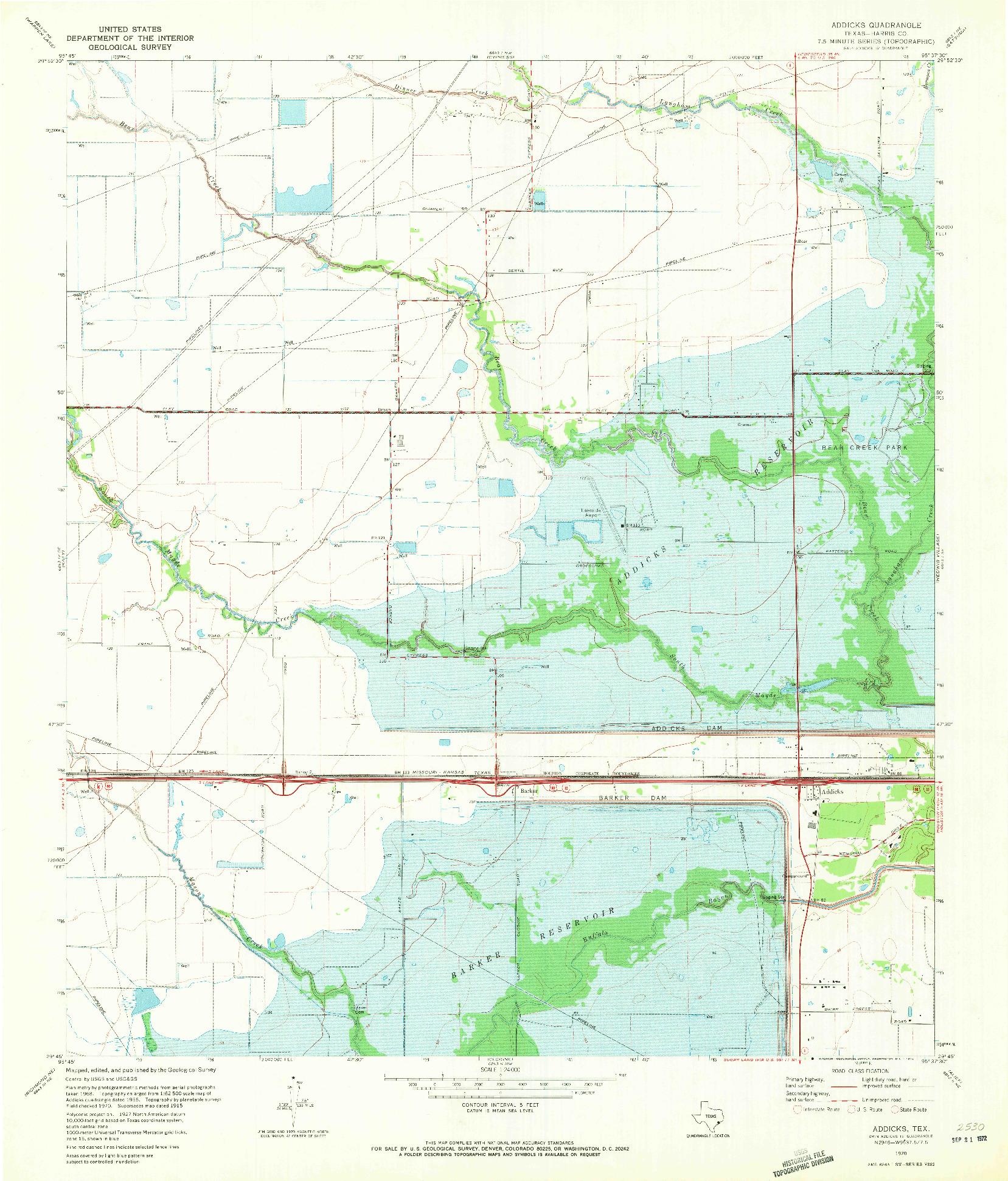 USGS 1:24000-SCALE QUADRANGLE FOR ADDICKS, TX 1970