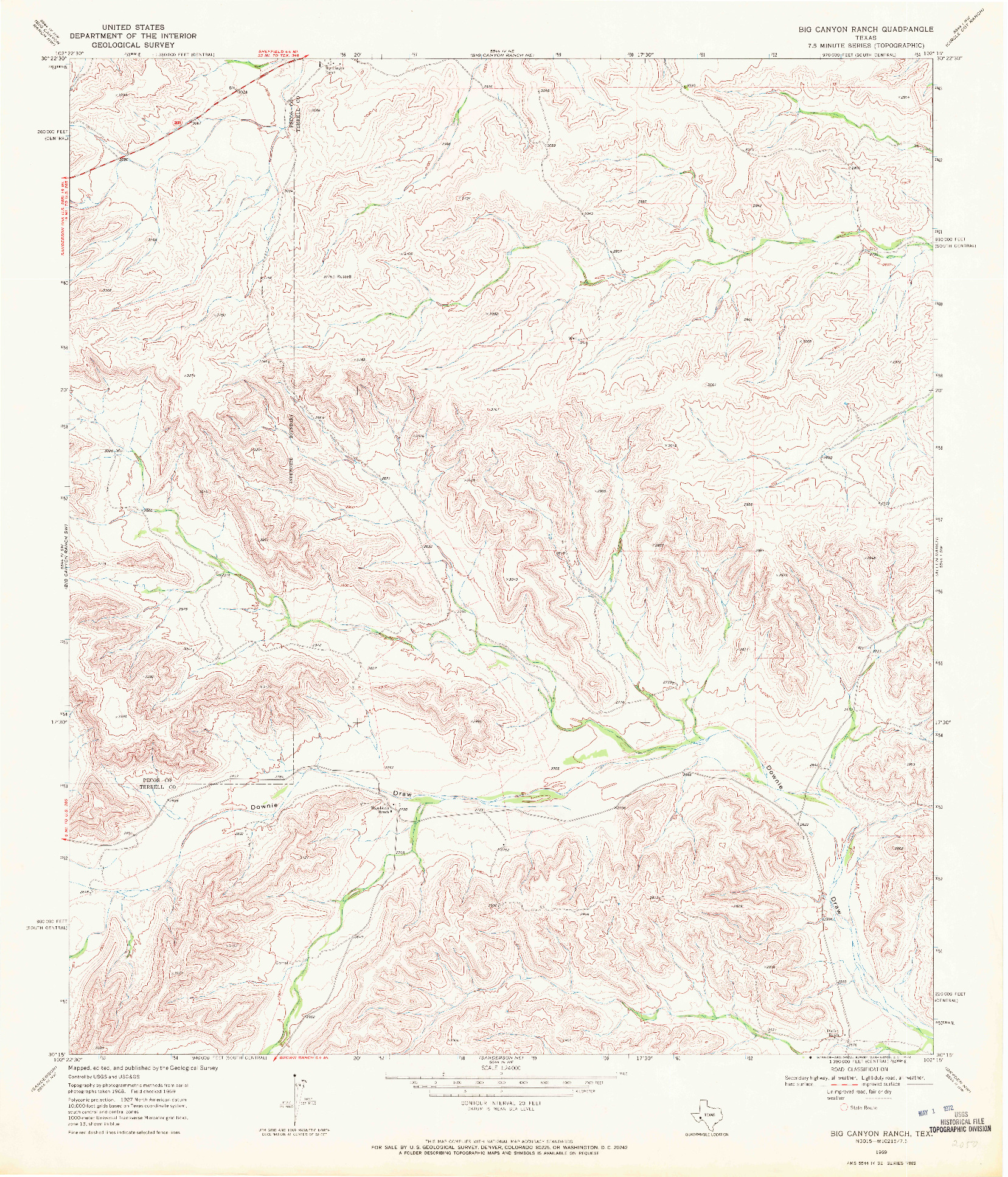 USGS 1:24000-SCALE QUADRANGLE FOR BIG CANYON RANCH, TX 1969