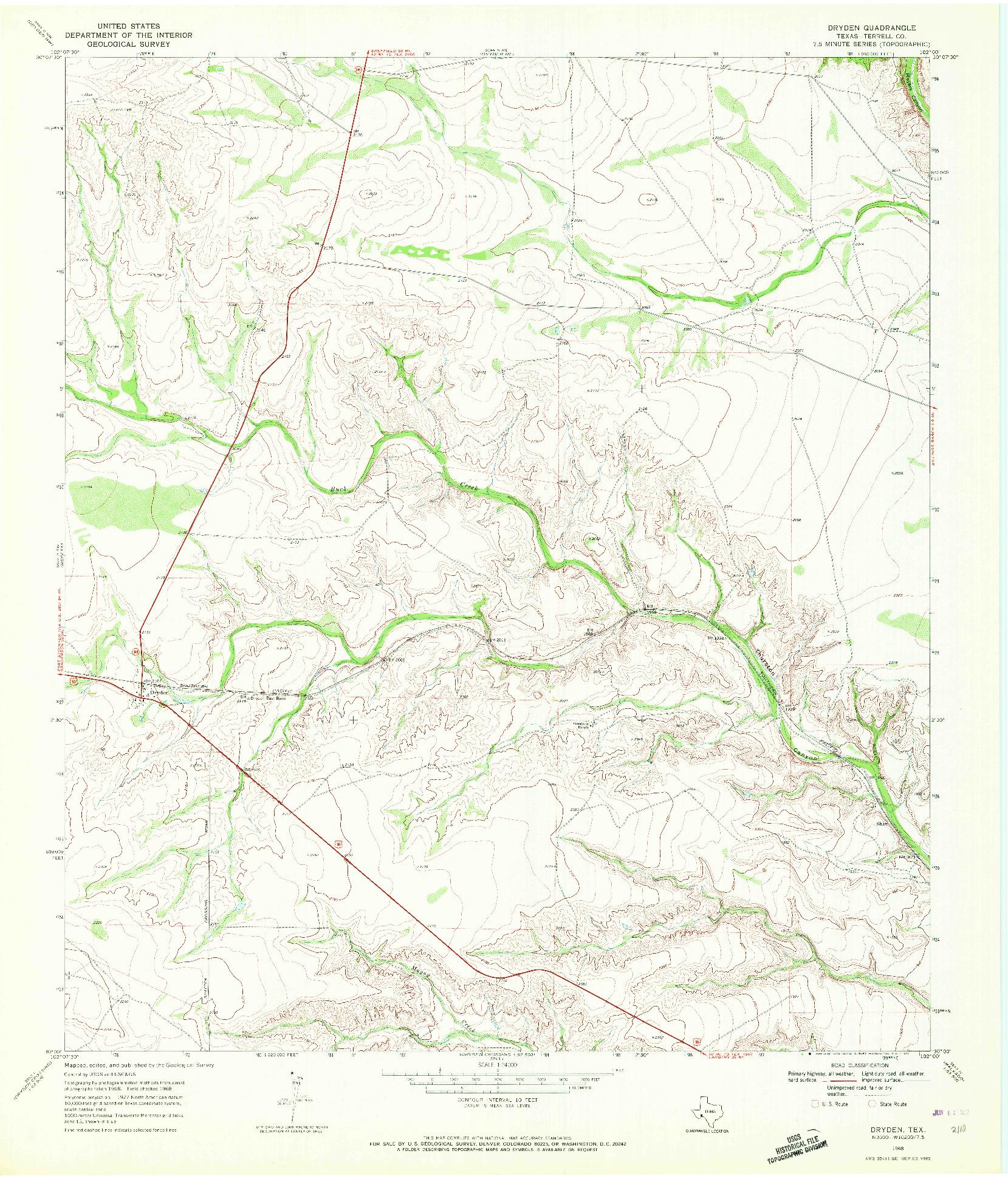 USGS 1:24000-SCALE QUADRANGLE FOR DRYDEN, TX 1968
